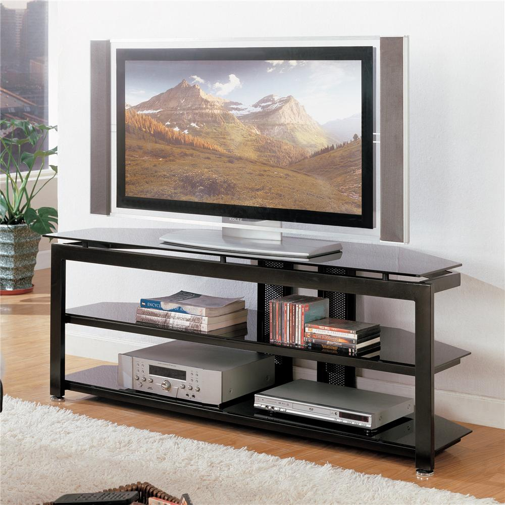 Crown Mark Delta 4816 TV Stand With Glass Top Sam Levitz