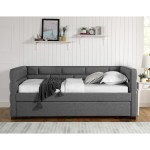 Crown Mark Flannery Contemporary Upholstered Daybed With Pull Out Trundle Bed A1 Furniture Mattress Daybeds