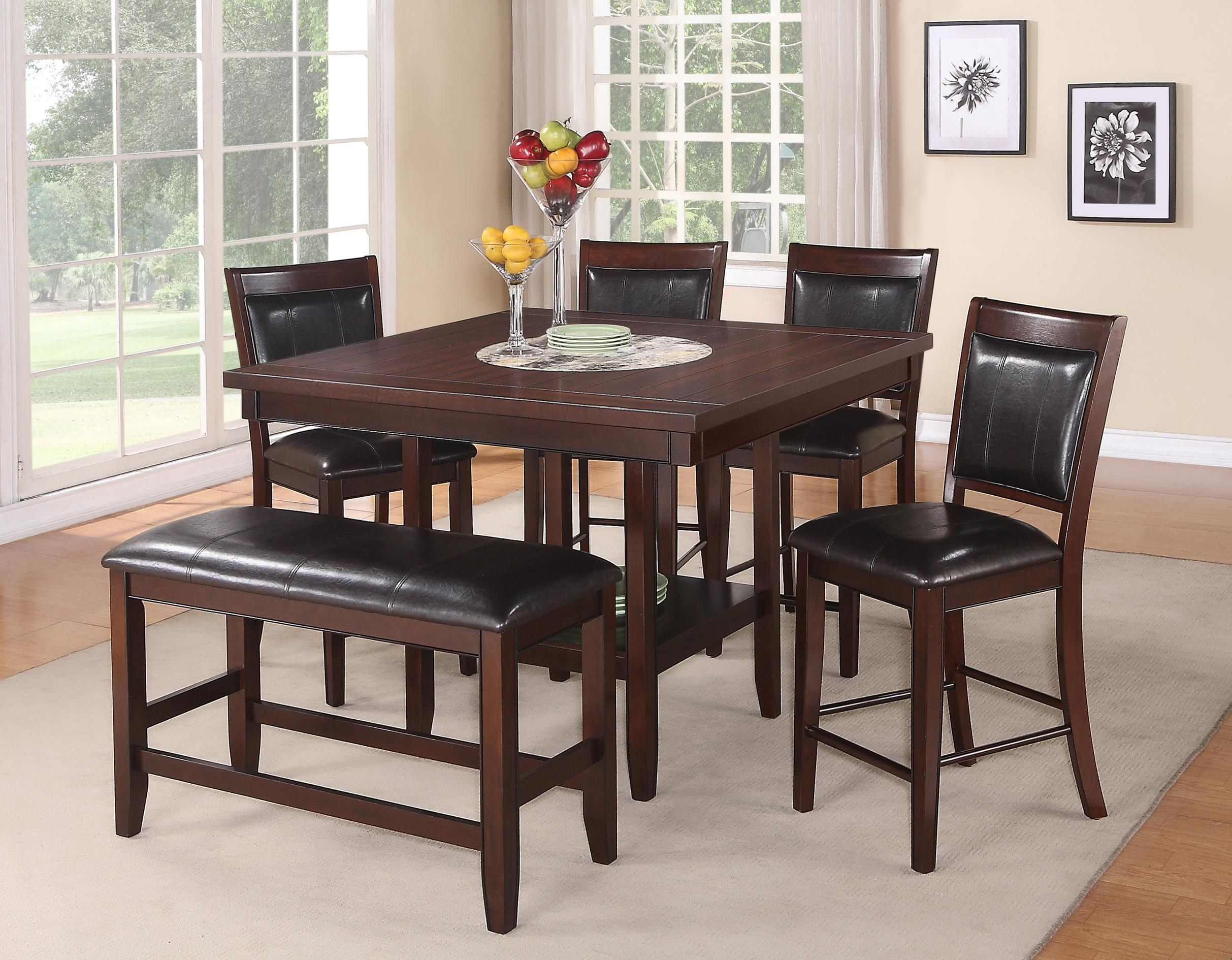 high table and chairs for kitchen u shaped chair cushions crown mark fulton 6 pc counter height bench set