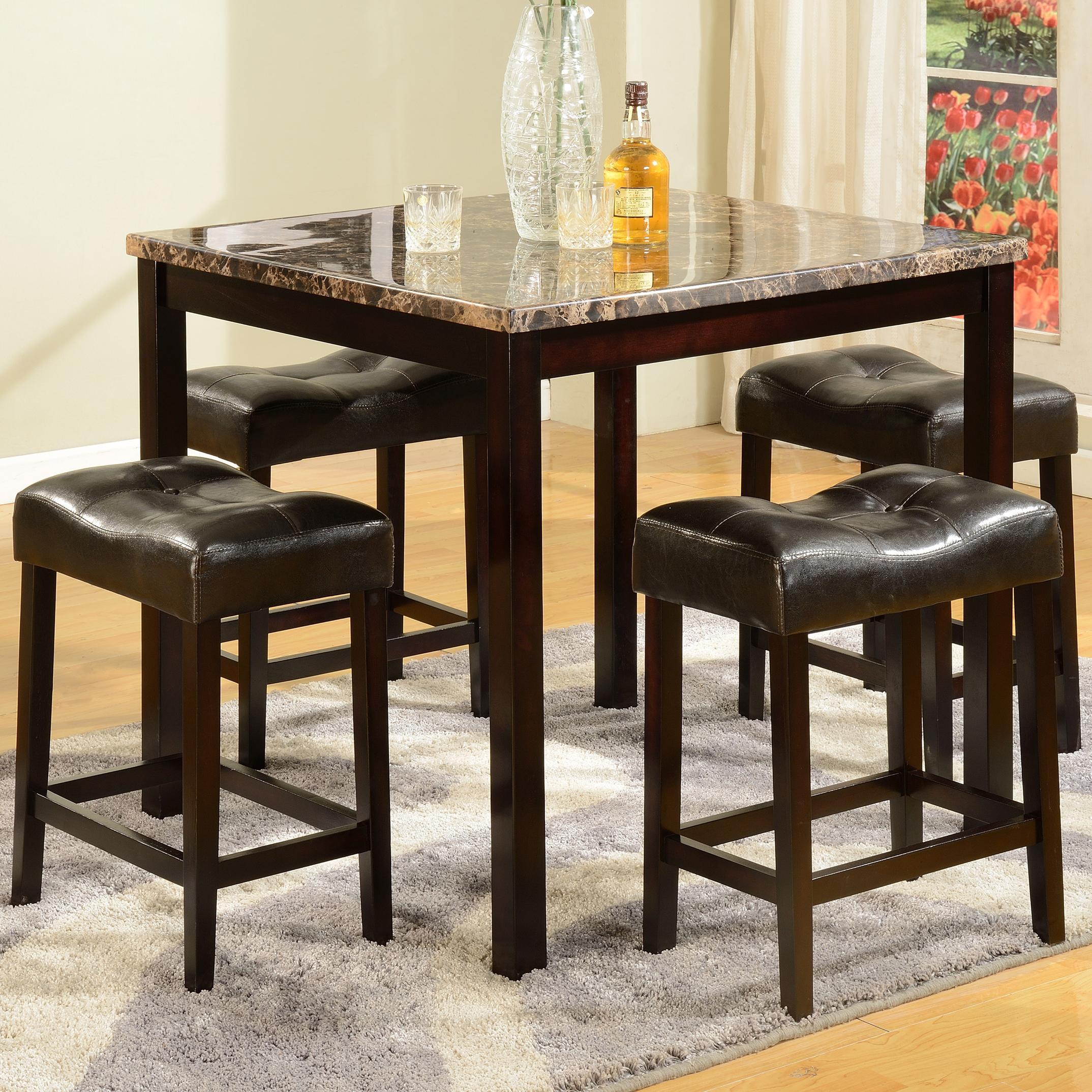 Bar Table With Chairs Kinsey 5 Piece Faux Marble Counter Table Upholstered Stool Set By Crown Mark At Wayside Furniture