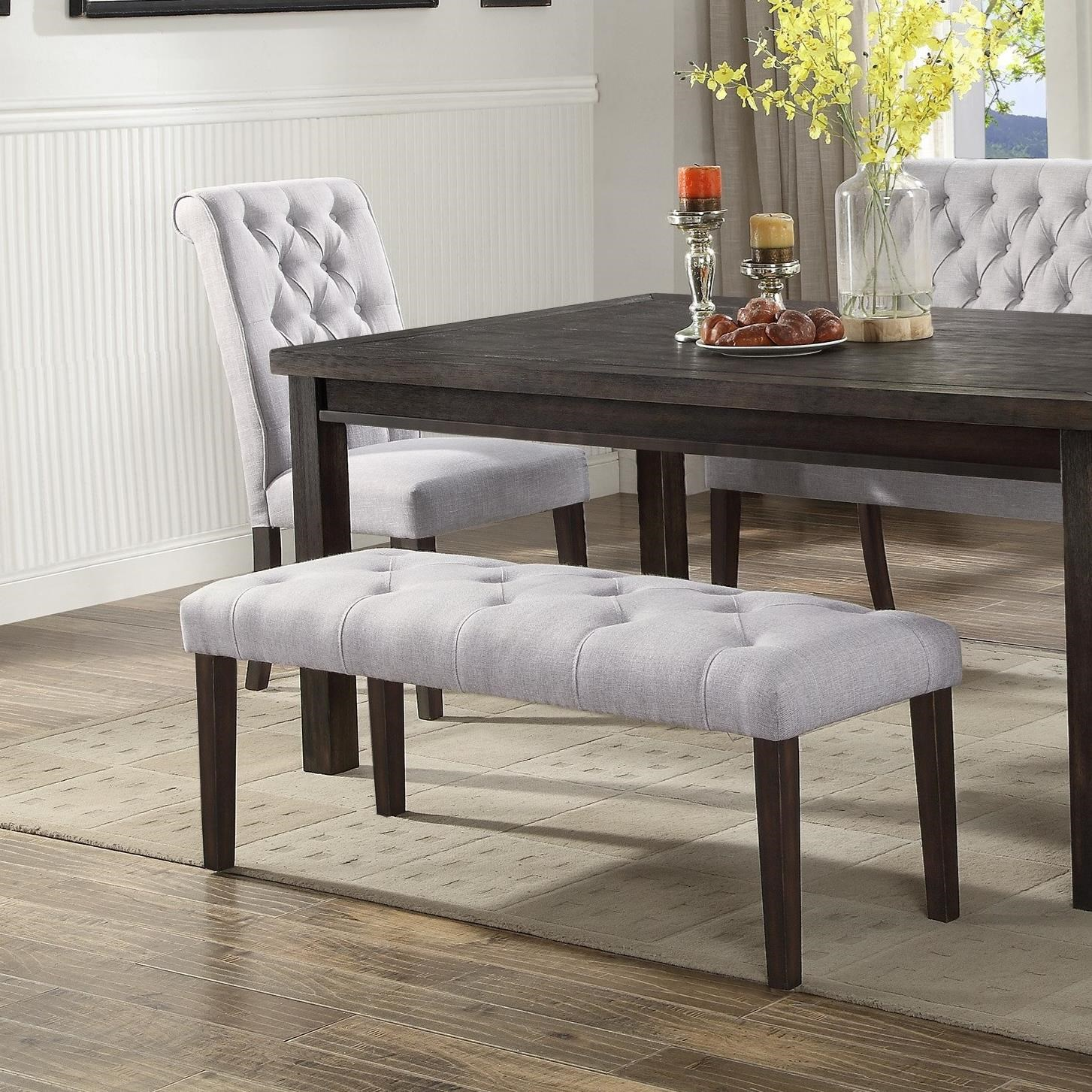 Crown Mark Palmer Dining Upholstered Dining Bench With Button Tufting Rooms For Less Dining Benches