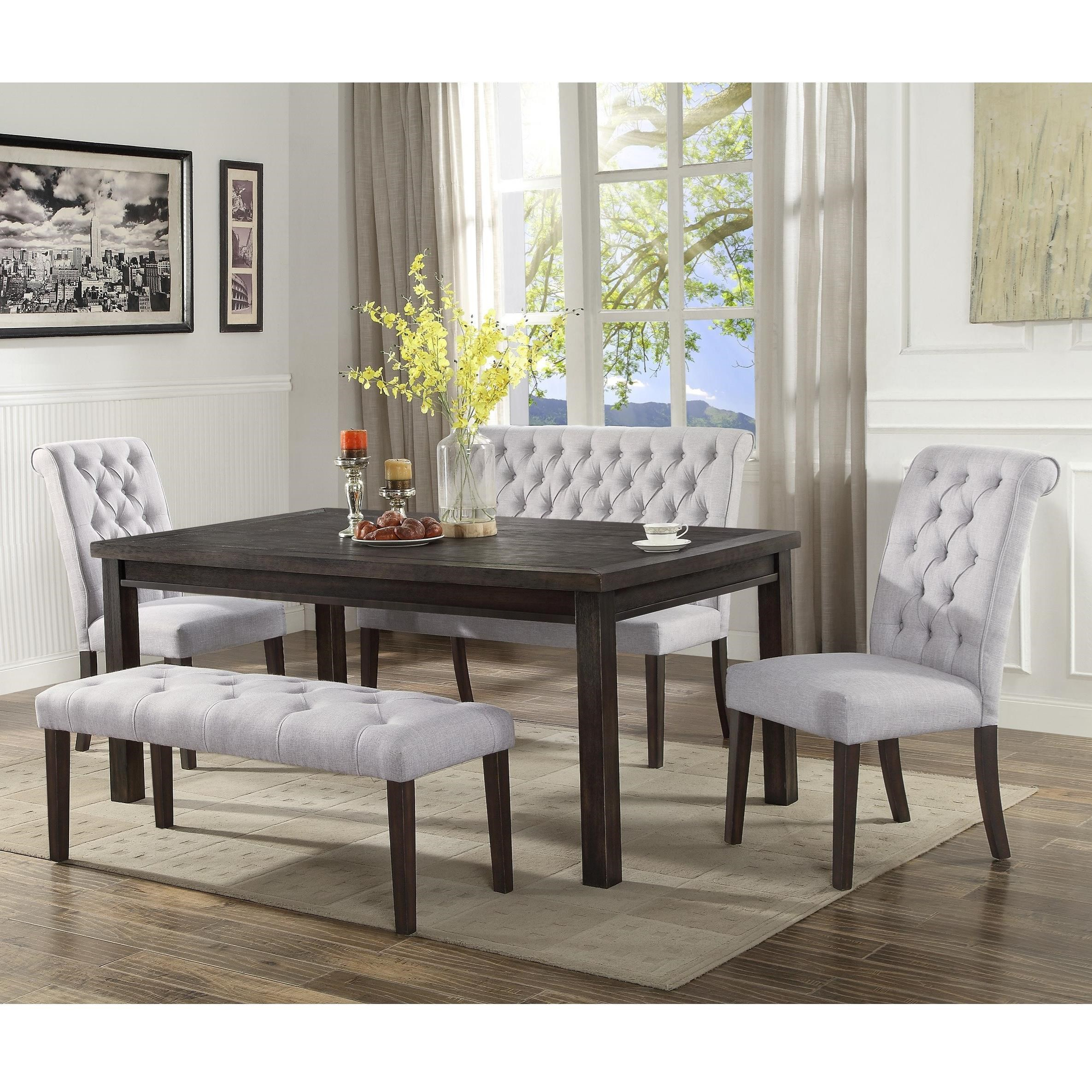 Crown Mark Palmer Dining Transitional Dining Set With Two Benches Dunk Bright Furniture Table Chair Set With Bench