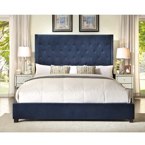 King Upholstered Bed With Diamond Tufting