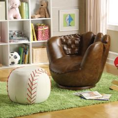 Kids Sports Chairs High Back Outdoor Chair Cushions Crown Mark Sport Themed 7005 Baseball Glove Ottoman