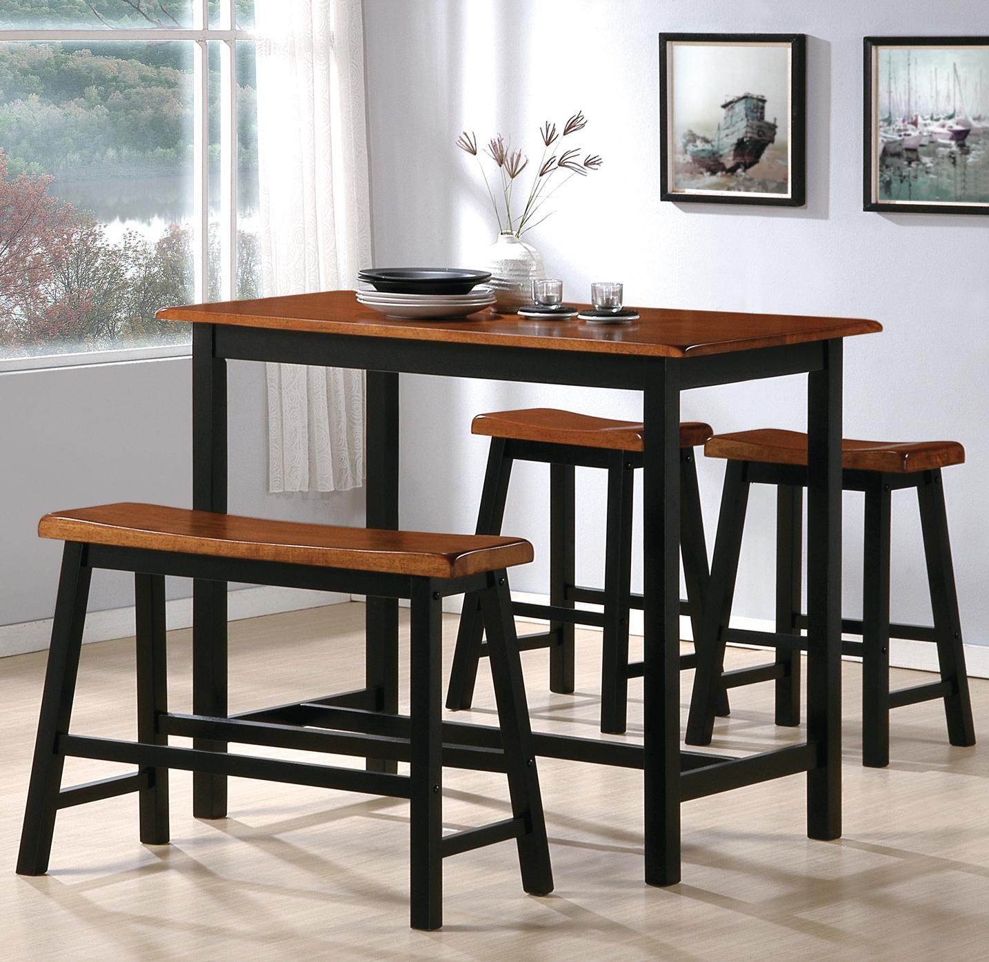 high table and chairs for kitchen desk chair amazon uk cm tyler 4 piece counter height set with bench
