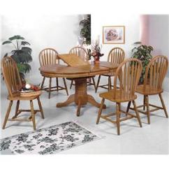 Oak Dining Set 6 Chairs Restoration Hardware Crown Mark Windsor Solid 7 Piece Oval Table And Side Household Furniture Or More Sets