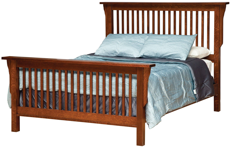 Daniel S Amish Mission King Mission Style Frame Bed With Headboard Footboard Slat Detail Belfort Furniture Panel Beds