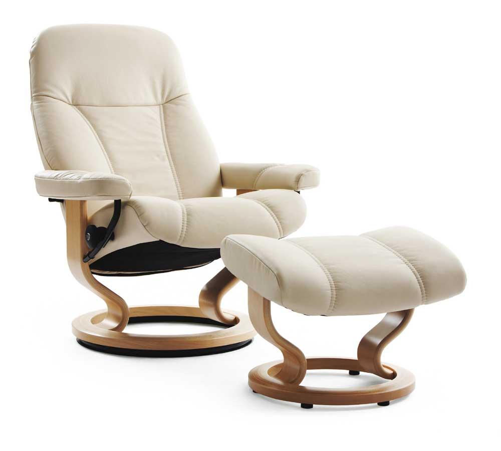 Stressless Consul 1005015 Medium Reclining Chair  Ottoman