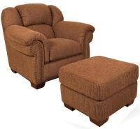 cheap bryce overstuffed chair with brass tacks and ottoman ...