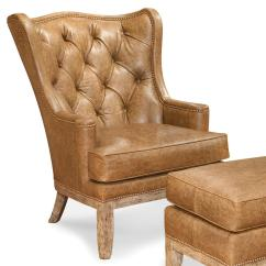 Traditional Leather Wingback Chair Dental With Accessories Fairfield Chairs Tufted Wing Nailhead Trim Lindy S
