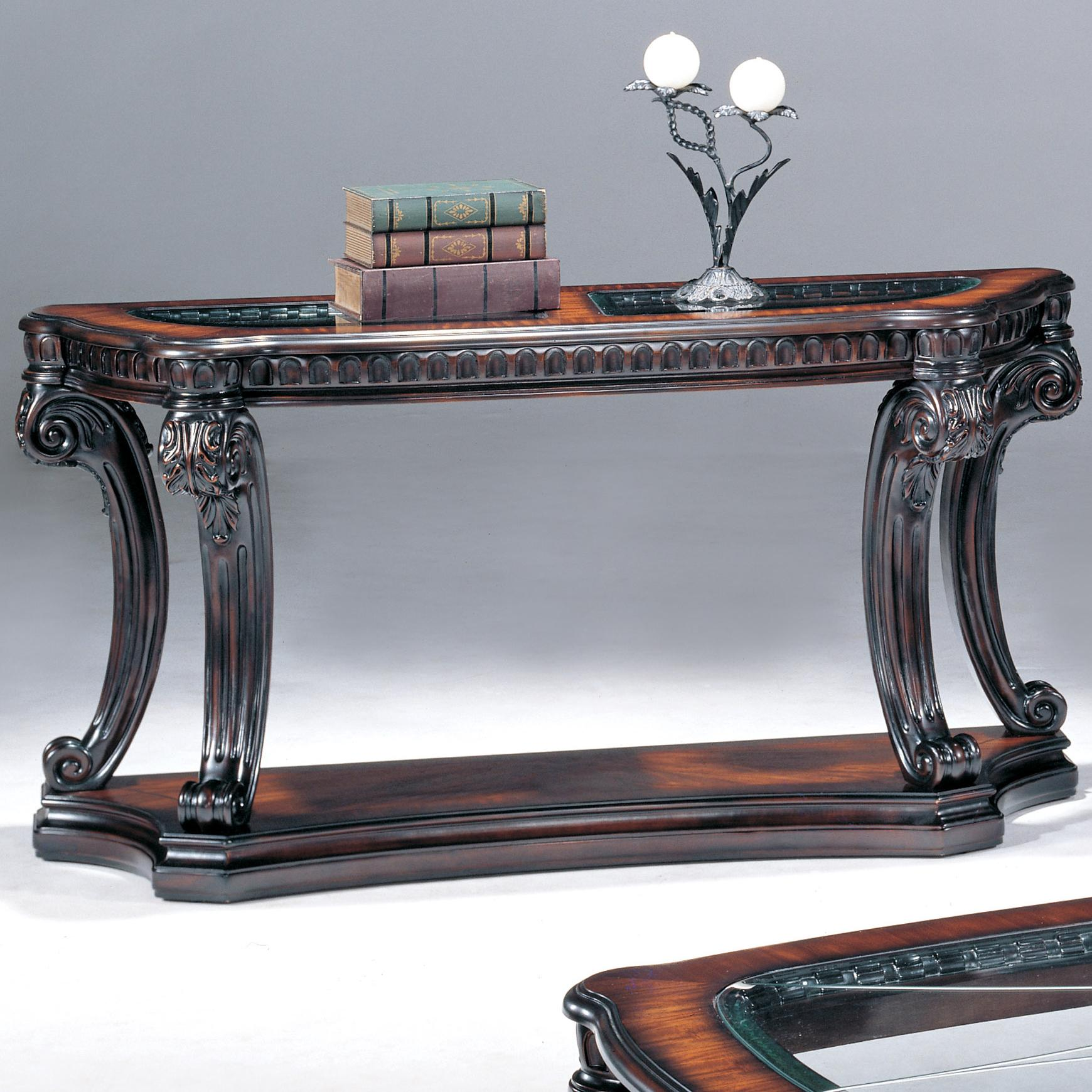sofa console tables wood velvet fabric online india fairmont designs grand estates table w glass inserts