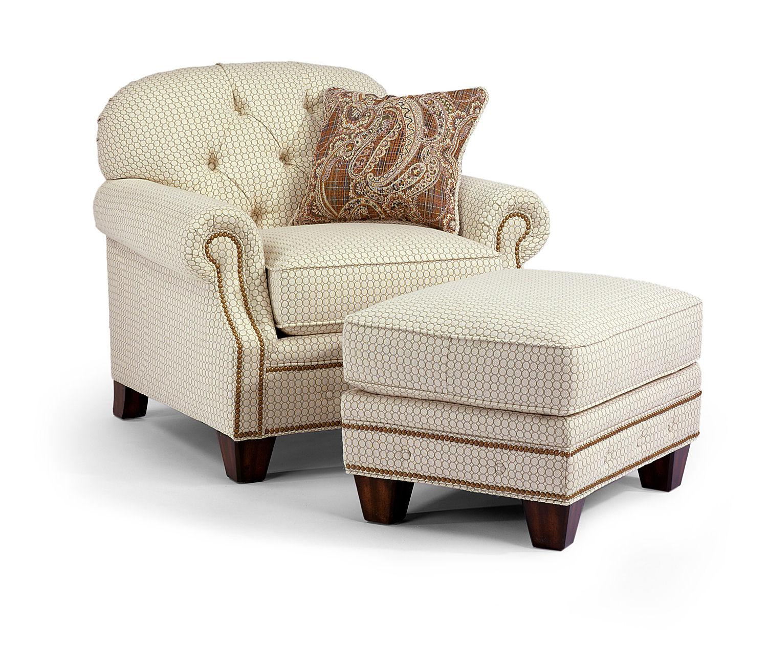 tufted chair and ottoman vanity flexsteel champion transitional button set