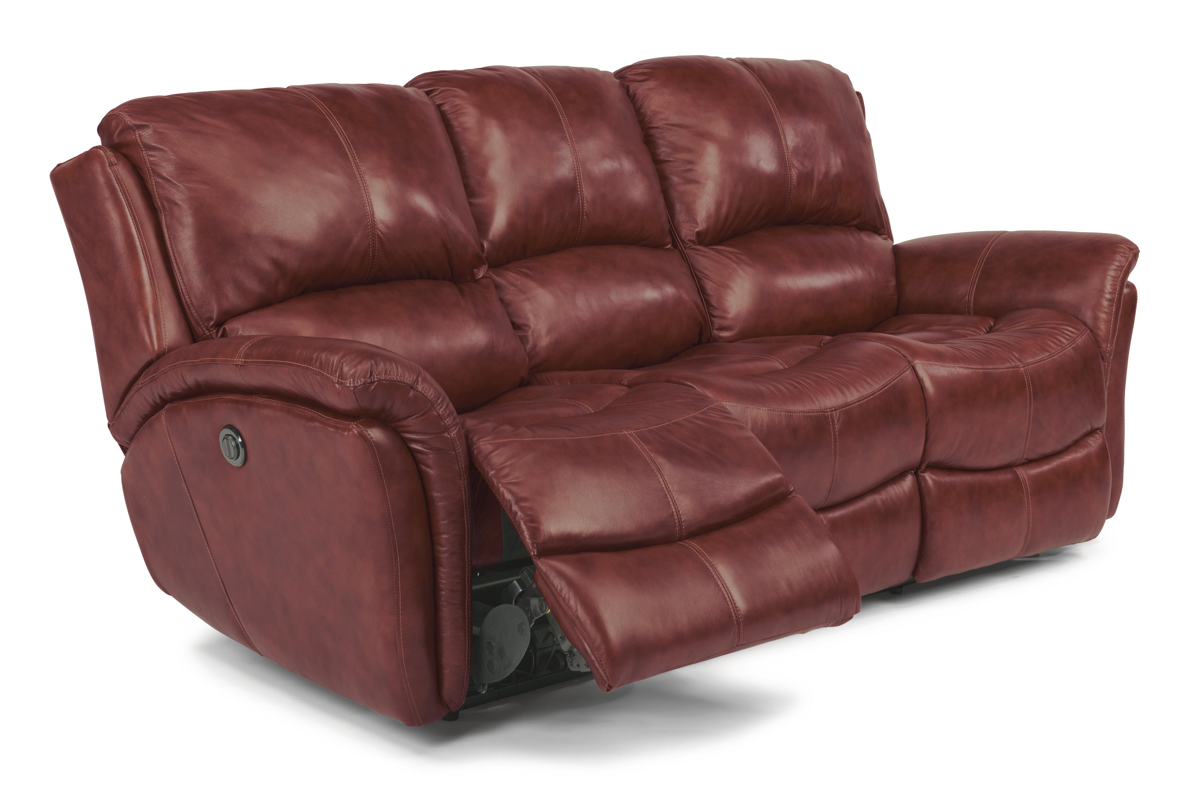 leather vs fabric sofa cats 12 inch table flexsteel latitudes dominique 1445 62p casual reclining with power