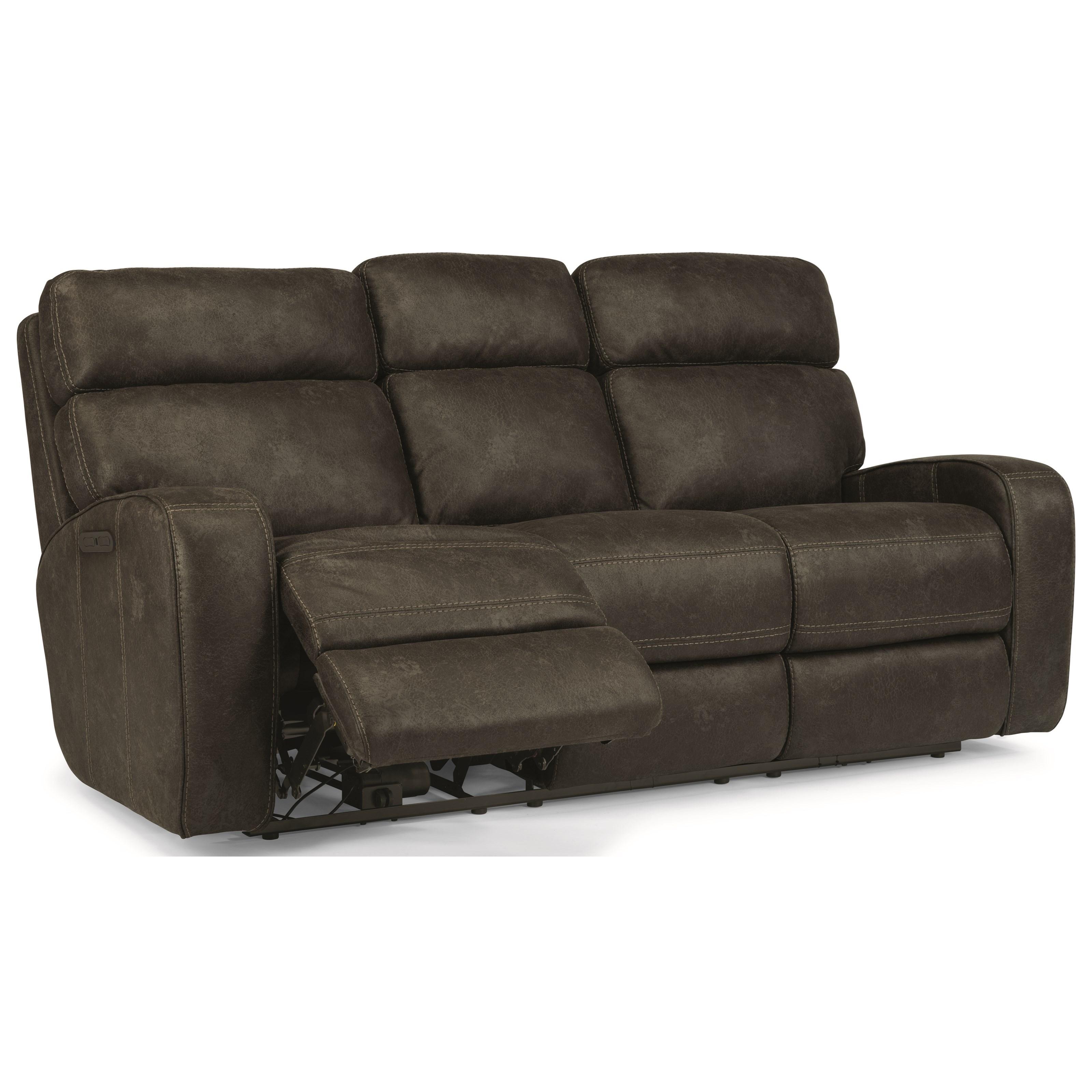 flexsteel julio reclining sofa wing back midnight luxe ...