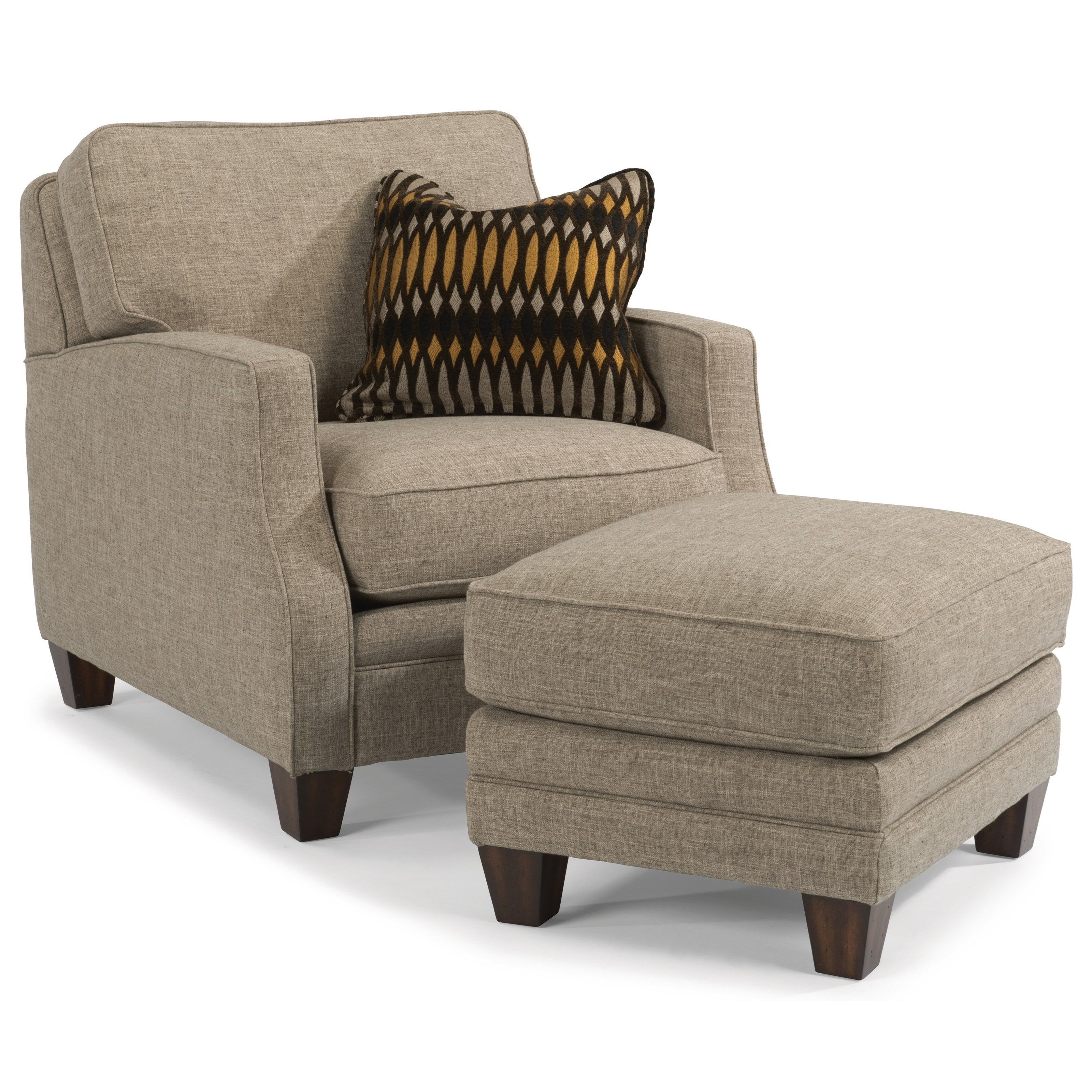 Chair And Ottoman Set Lenox Transitional Chair With Scalloped Arms And Ottoman Set By Flexsteel At Rooms For Less