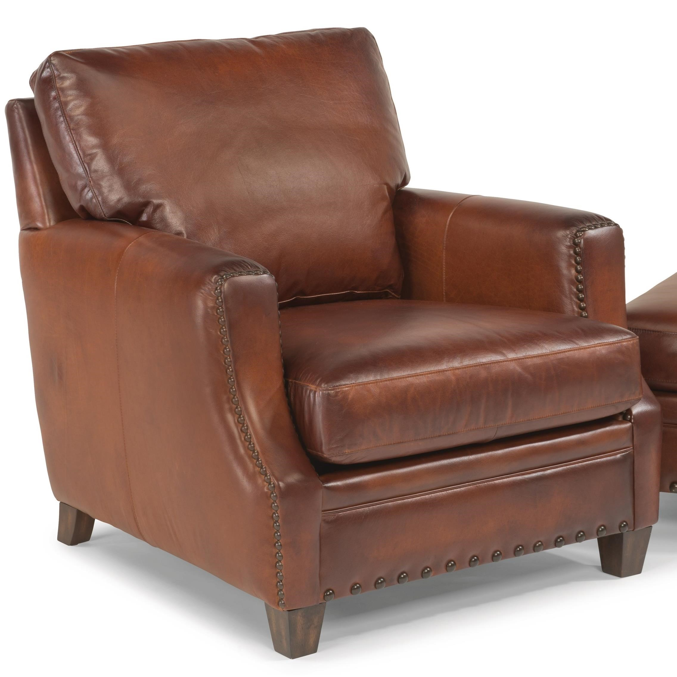 Rustic Leather Chairs Latitudes Maxfield Rustic Leather Chair With Nailhead Trim By Flexsteel At Rooms And Rest