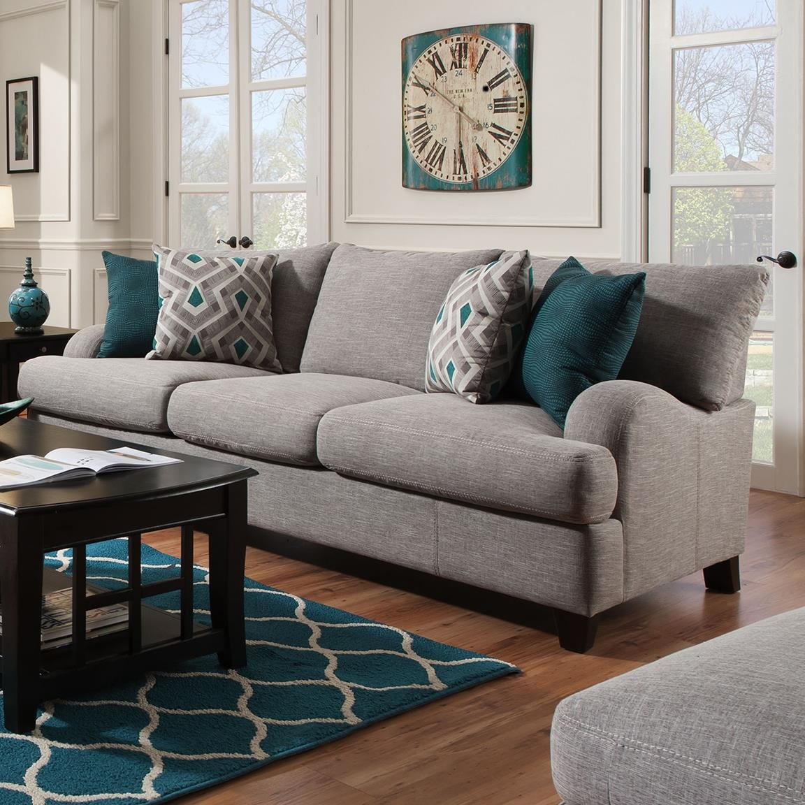 craftmaster living room furniture small interior decoration franklin paradigm sofa with bold accent pillows | olinde's ...