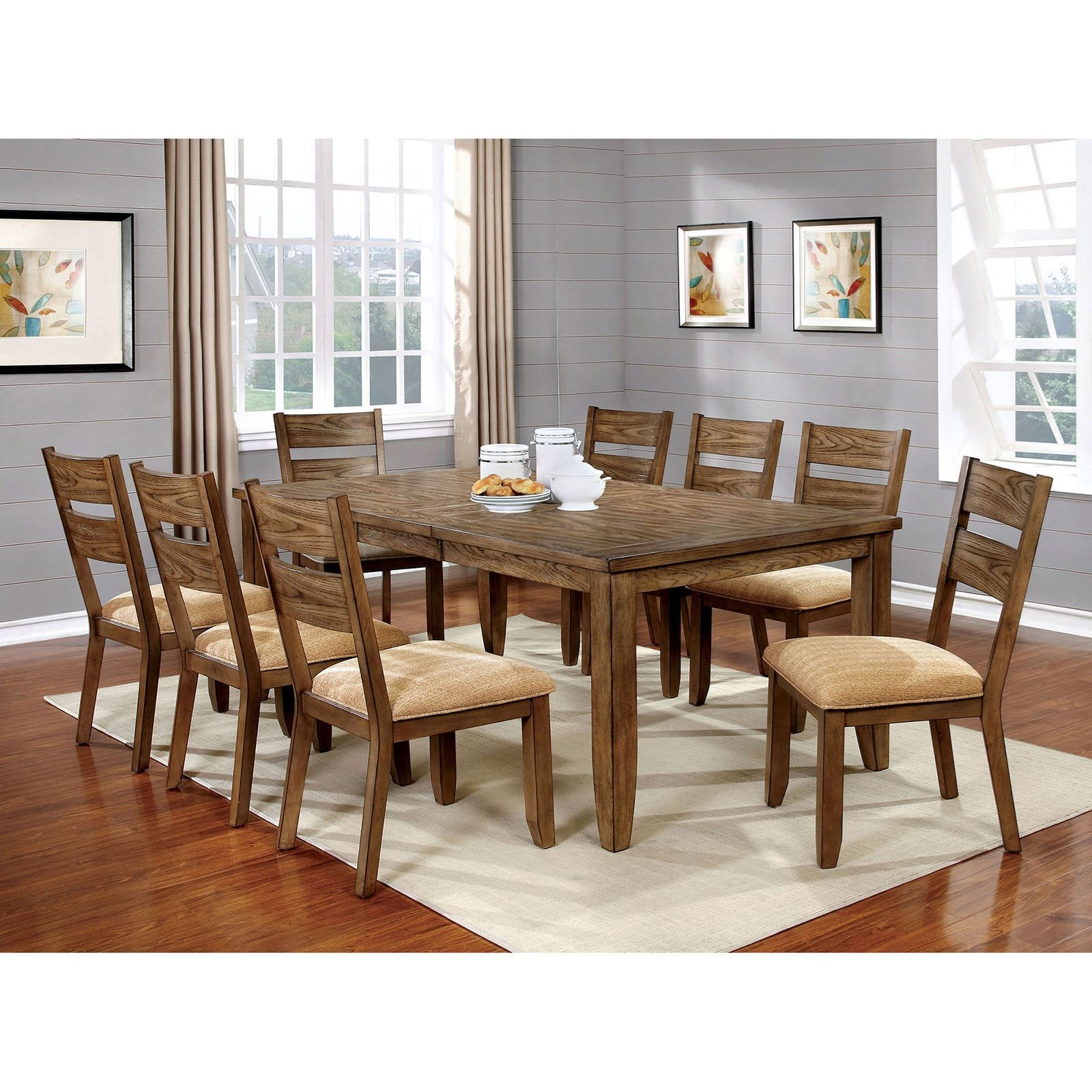 8 Chair Dining Set Ava 9 Piece Casual Dining Set With 1 Table Leaf By Furniture Of America At Rooms For Less