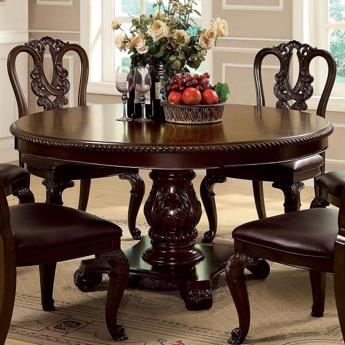 Furniture Of America Bellagio Traditional Round Dining Table With Carved Pedestal Base Dream Home Interiors Dining Tables