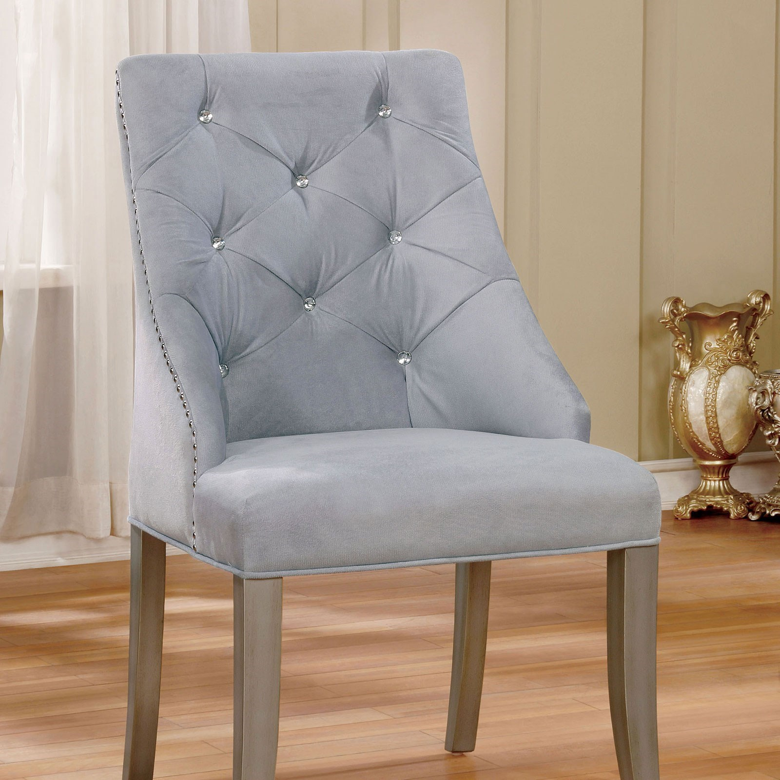 Silver Dining Chairs Diocles Set Of 2 Glam Silver Tufted Dining Chairs With Gray Flannel Upholstery And Acrylic Crystal Buttons By Furniture Of America At Rooms For Less