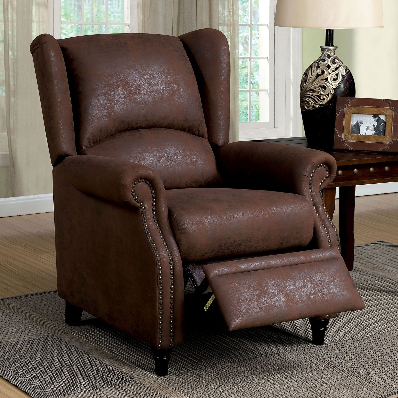 Wingback Recliner Chair Leona Transitional Push Back Reclining Chair With Wing Back And Nailheads By Furniture Of America At Rooms For Less