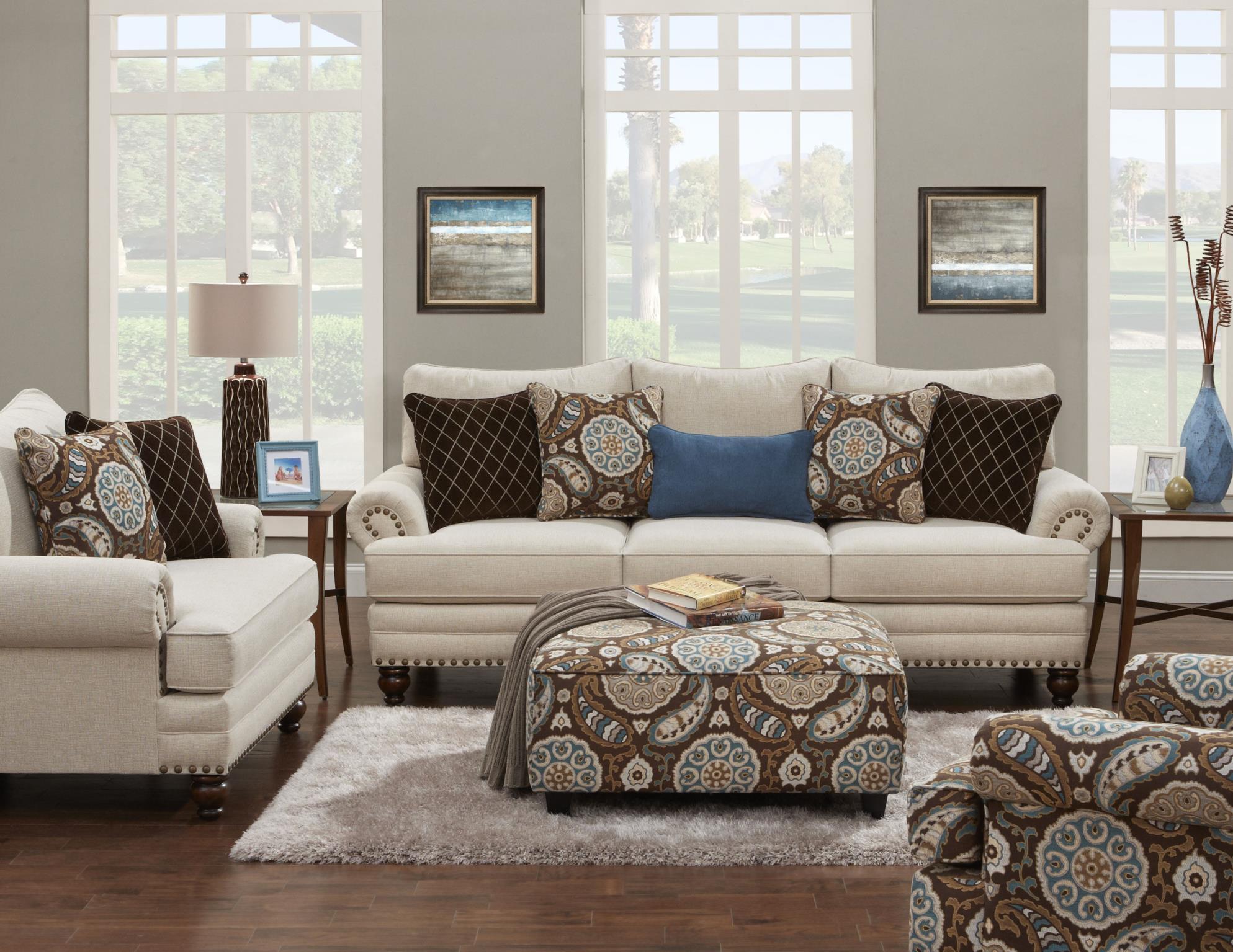 Fusion Furniture 109 Contemporary Square Ottoman With