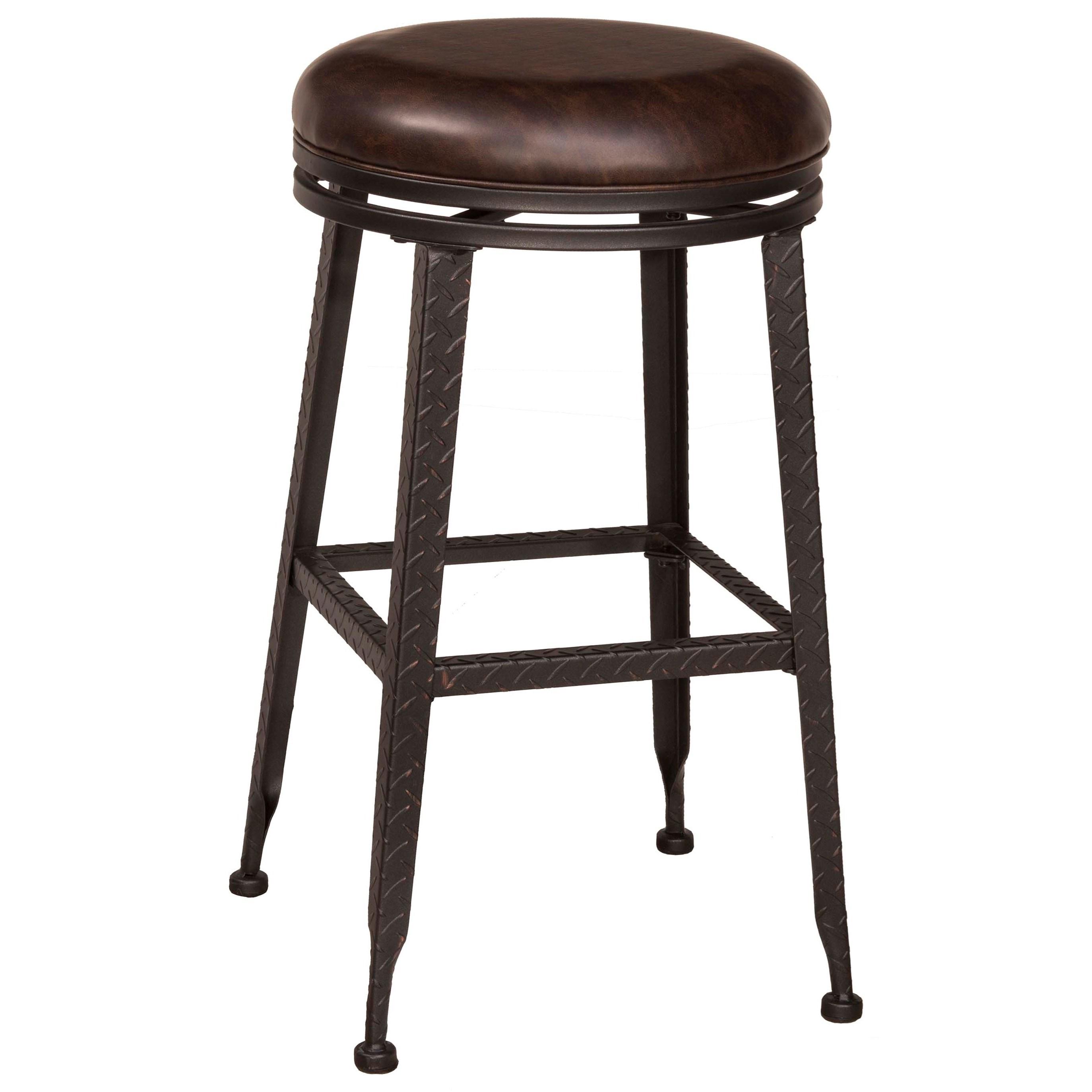 Swivel Bar Chairs Backless Bar Stools Black Metal With Copper Highlights Backless Swivel Bar Stool By Hillsdale At Boulevard Home Furnishings