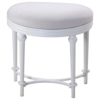 Vanity Stools Oval Vanity Stool with Upholstered Off-White ...