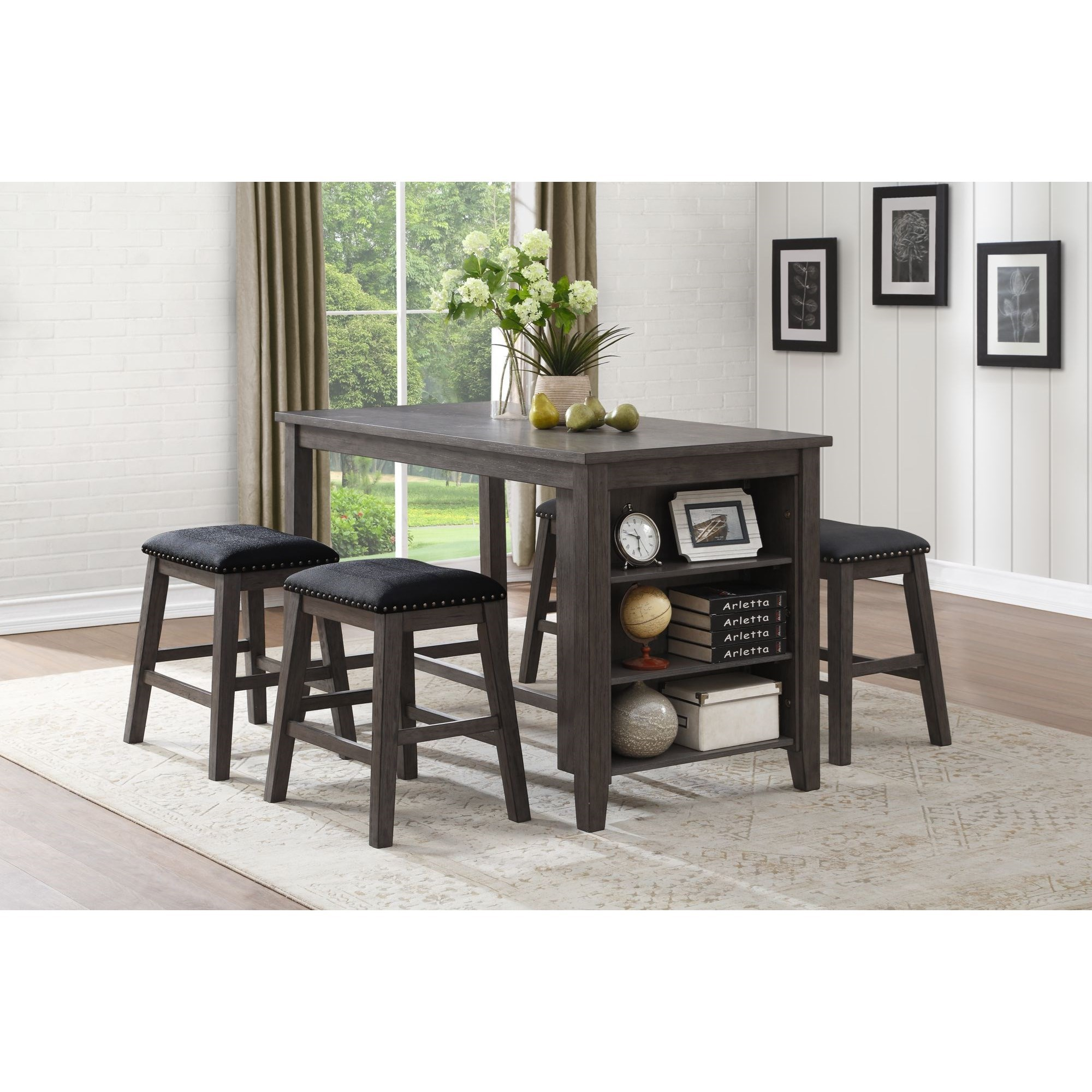 Homelegance 5603 Transitional Counter Height Table With 3