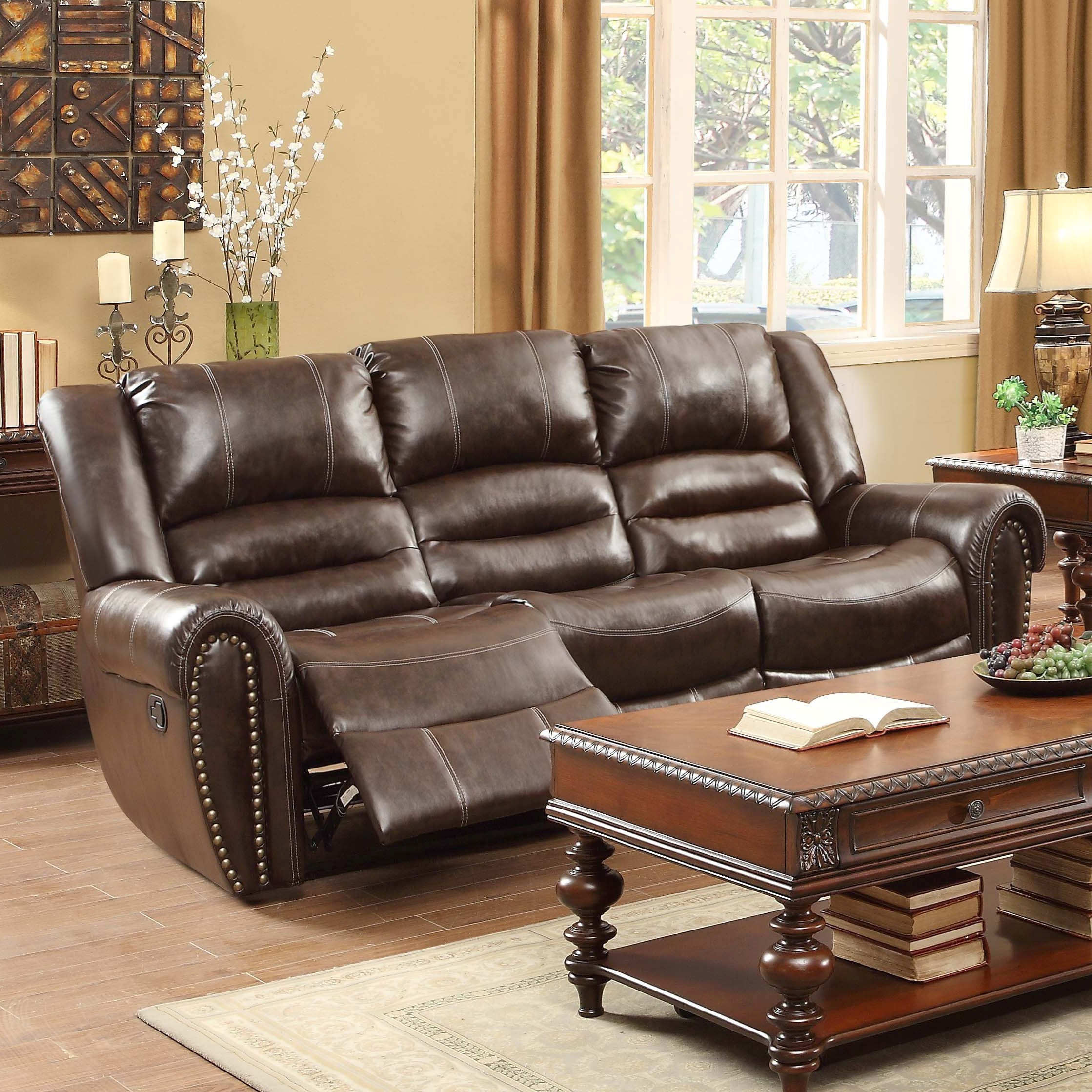 reclining sofa with nailhead trim custom size cushions delivery estimates northeast factory direct cleveland eastlake