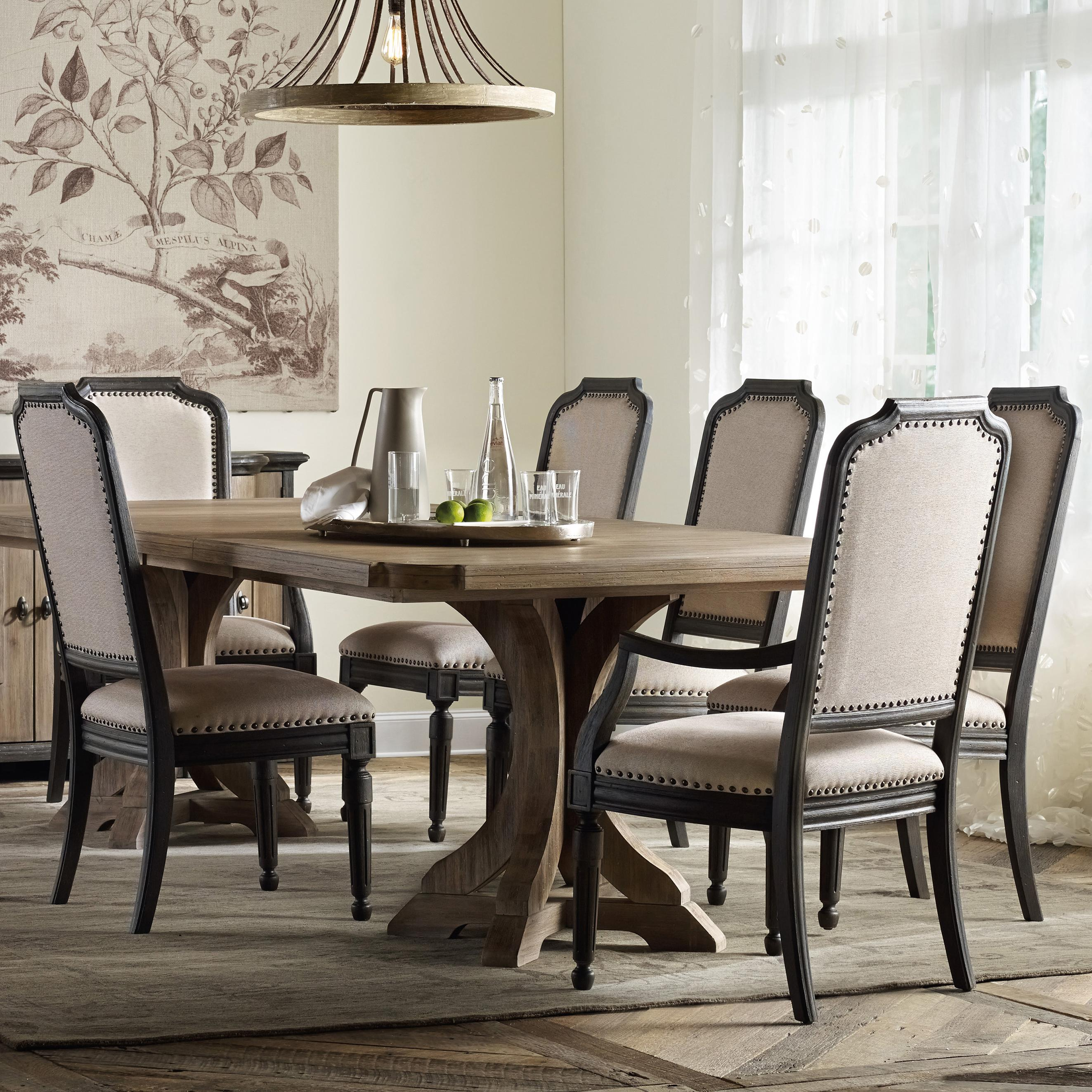 Dining Room Upholstered Chairs Corsica Rectangle Pedestal Dining Table Set With Upholstered Chairs By Hooker Furniture At Stoney Creek Furniture