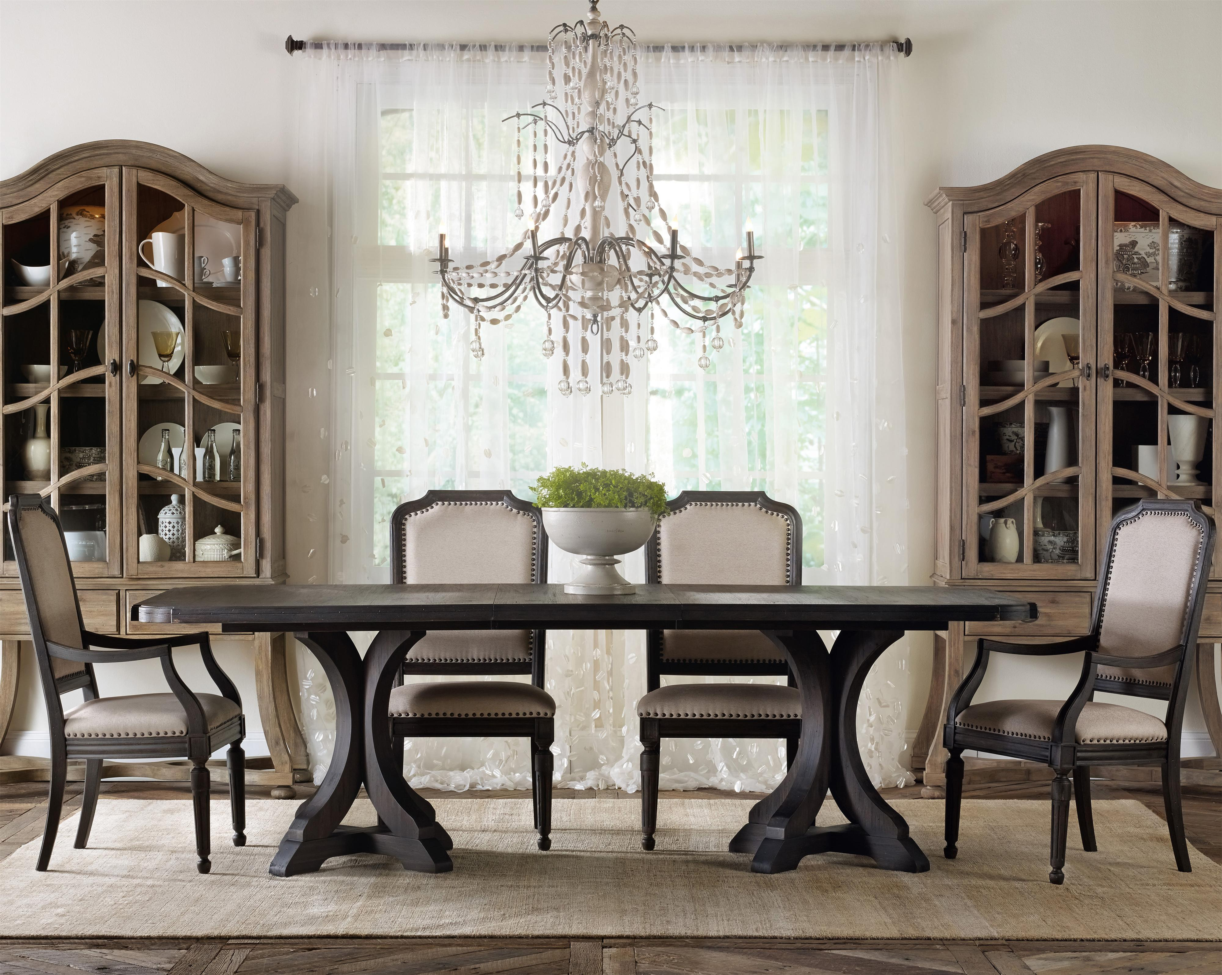 upholstered chairs for dining room stool chair garden hooker furniture corsica rectangle pedestal table set with