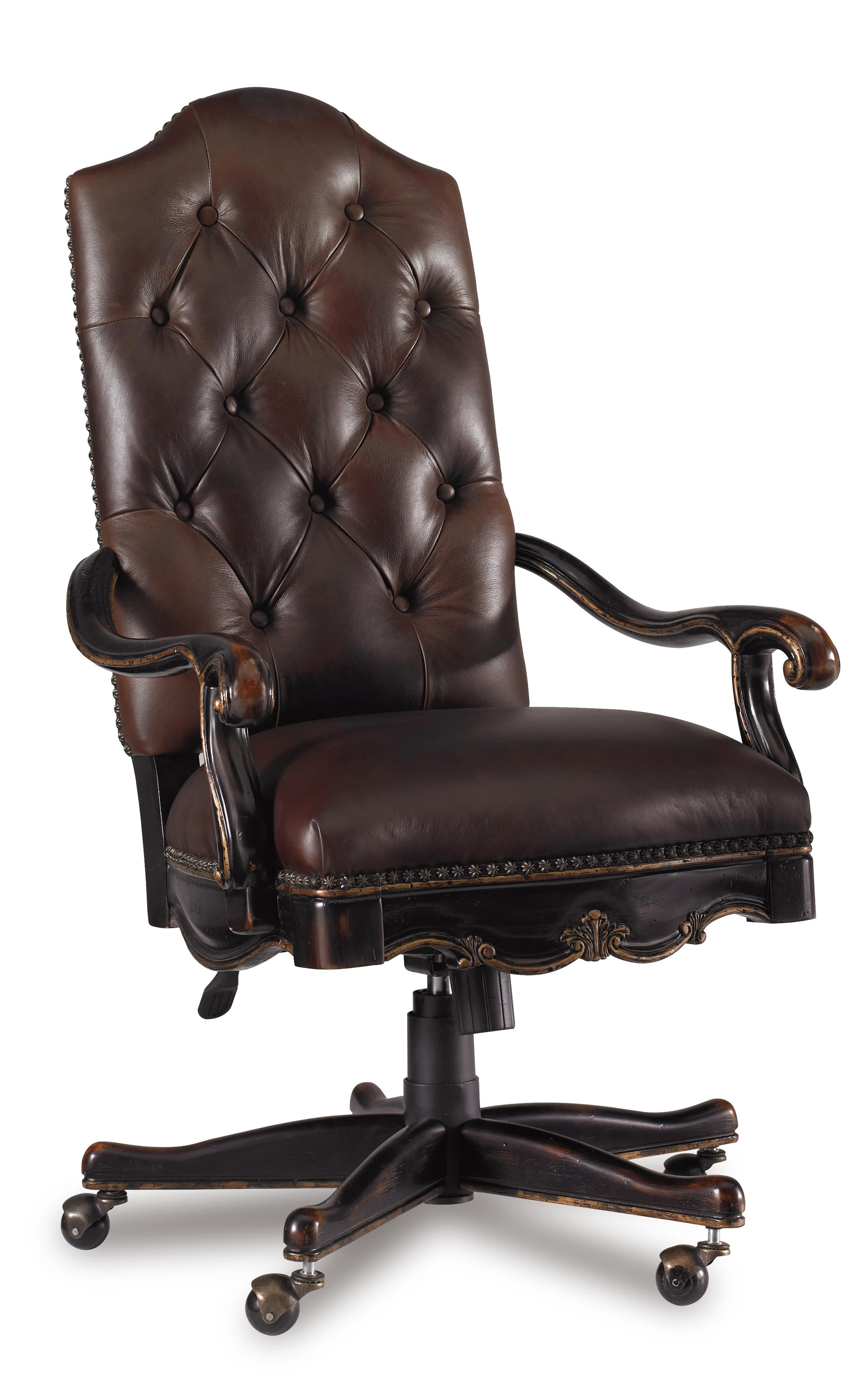 Red Leather Swivel Chair Grandover Tufted Leather Executive Office Chair With Tilt Swivel And Pneumatic Seat Height Adjustment By Hooker Furniture At Belfort Furniture