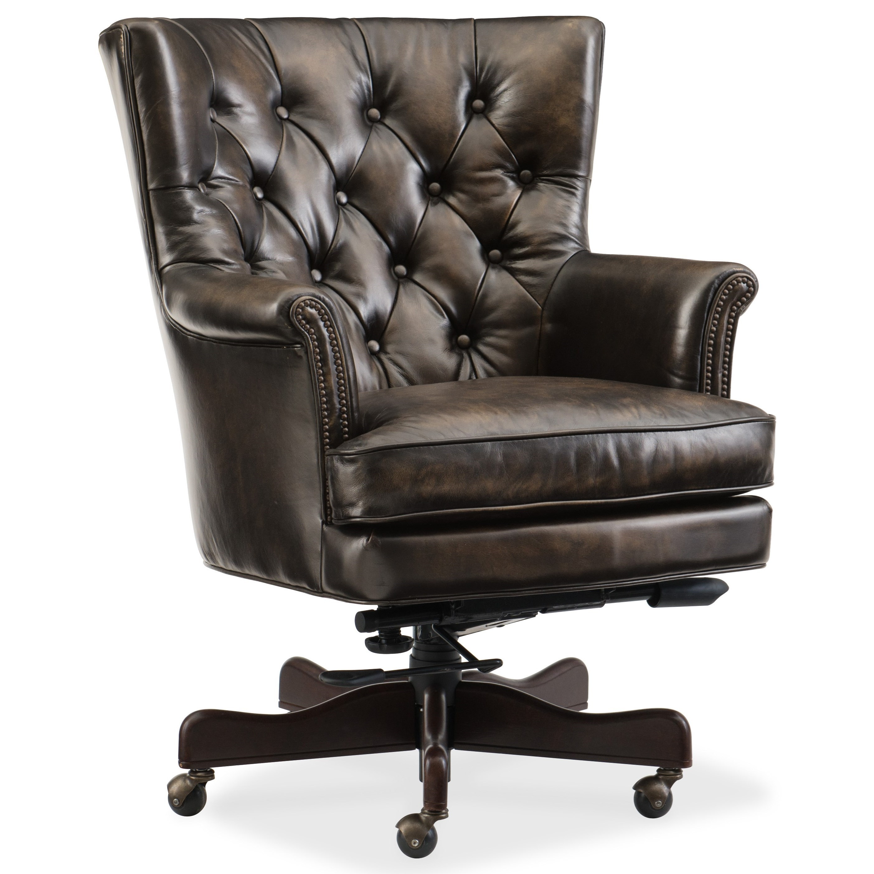 Tufted Leather Office Chair Executive Seating Theodore Leather Home Office Chair With Tufted Back By Hooker Furniture At Suburban Furniture