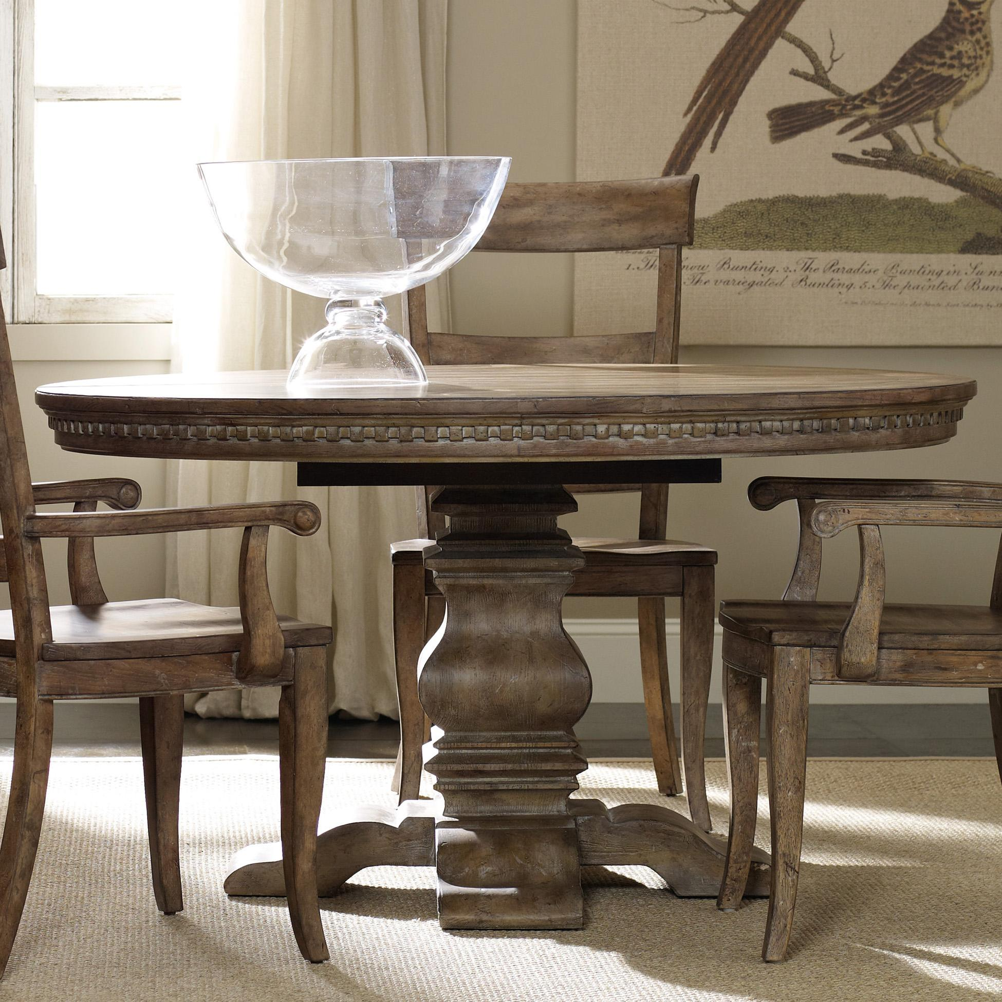 farmhouse table and chairs with bench hanging chair perth hooker furniture sorella round dining pedestal base