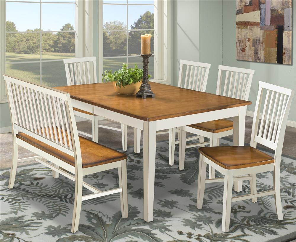 kitchen table bench seat metal cabinets ikea intercon arlington dining with slat back side chairs