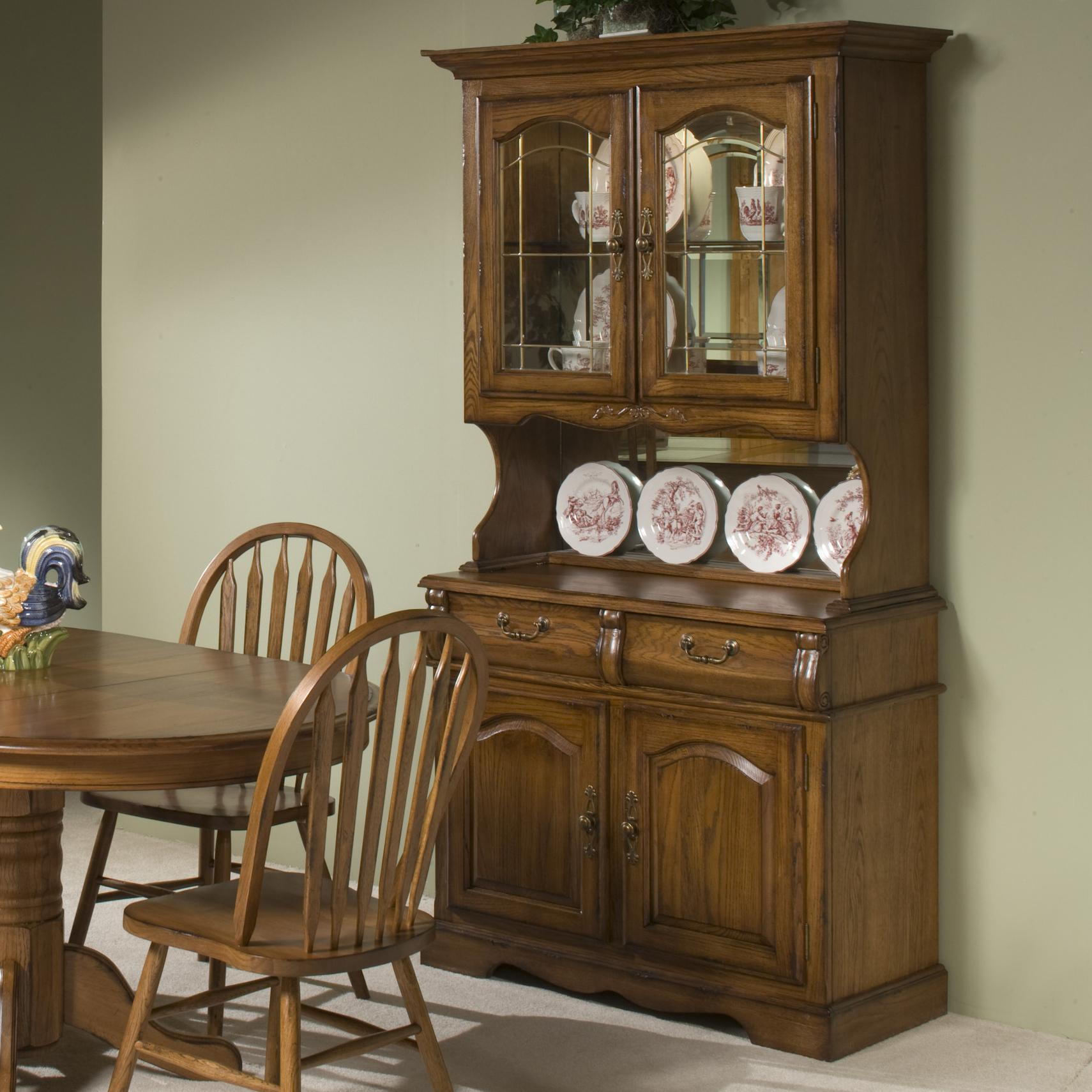Intercon Classic Oak 42 China Hutch With Two Half Drawers