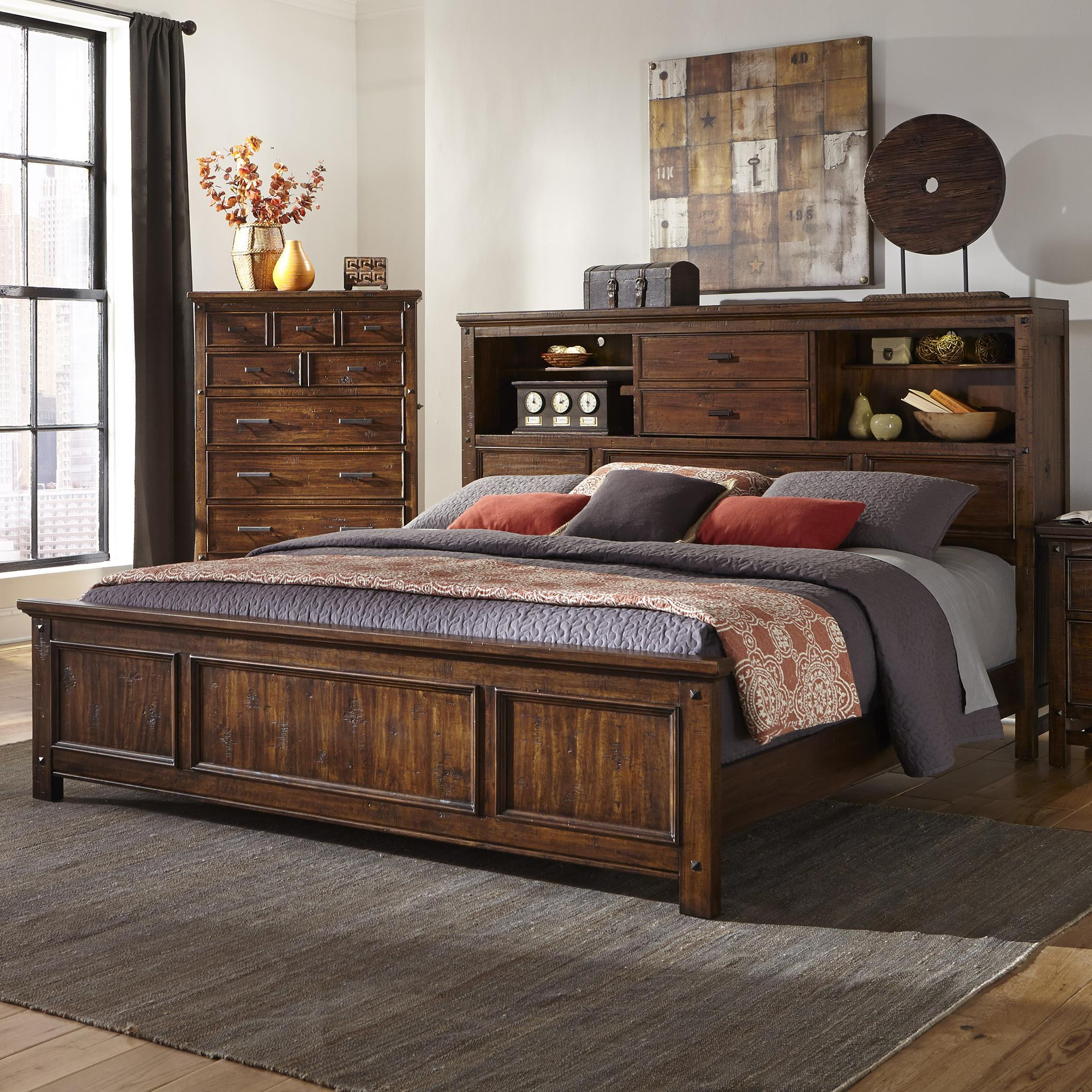 Intercon Wolf Creek Queen Bookcase Bed Fisher Home Furnishings Bookcase Beds