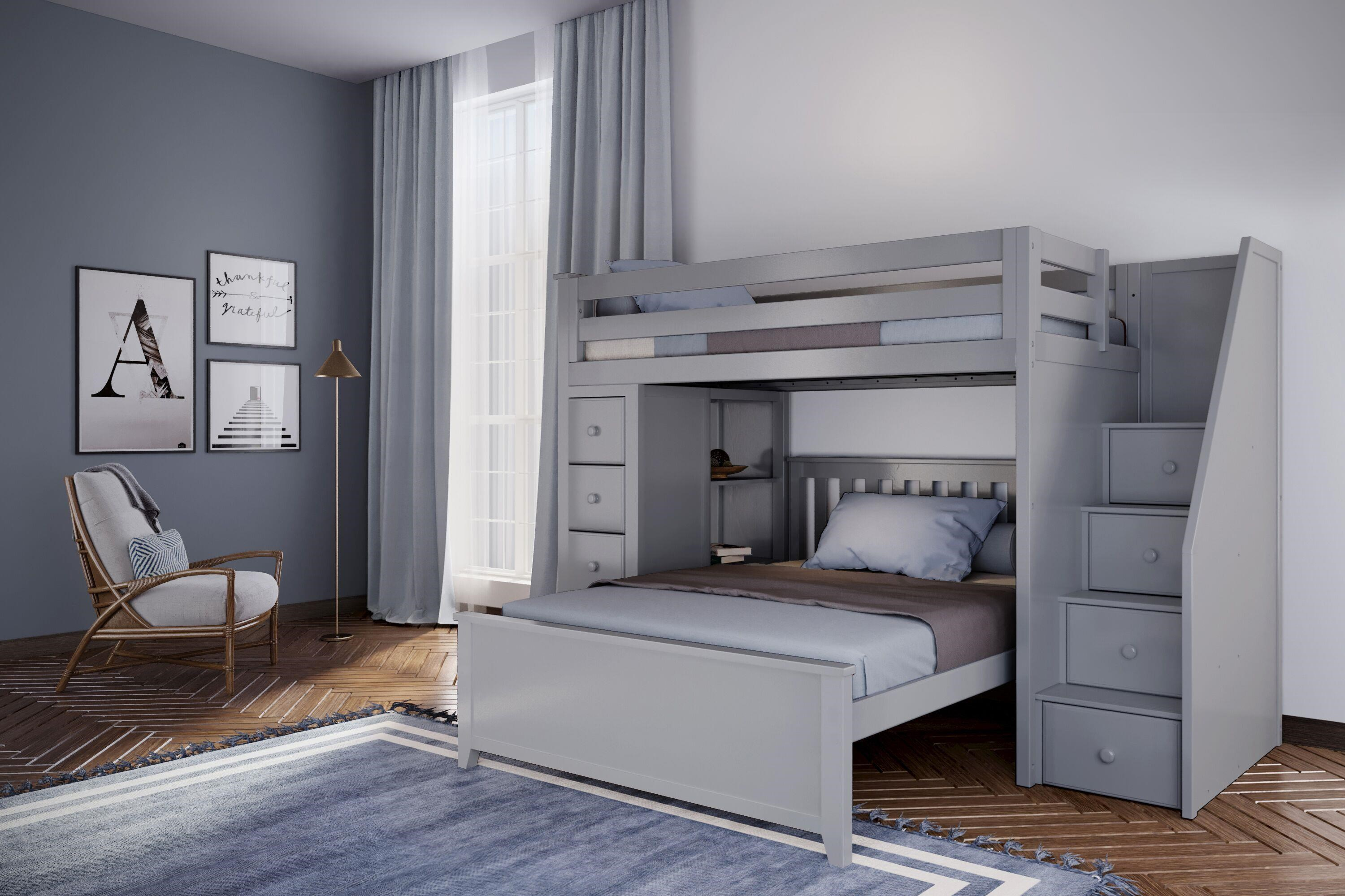all in ones oxford 1 twin staircase high loft bed grey