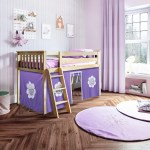 Jackpot Kids Loft Beds York 3 Low Loft Bed In Natural W Angle Ladder W Curtain In Purple White Belfort Furniture Loft Beds
