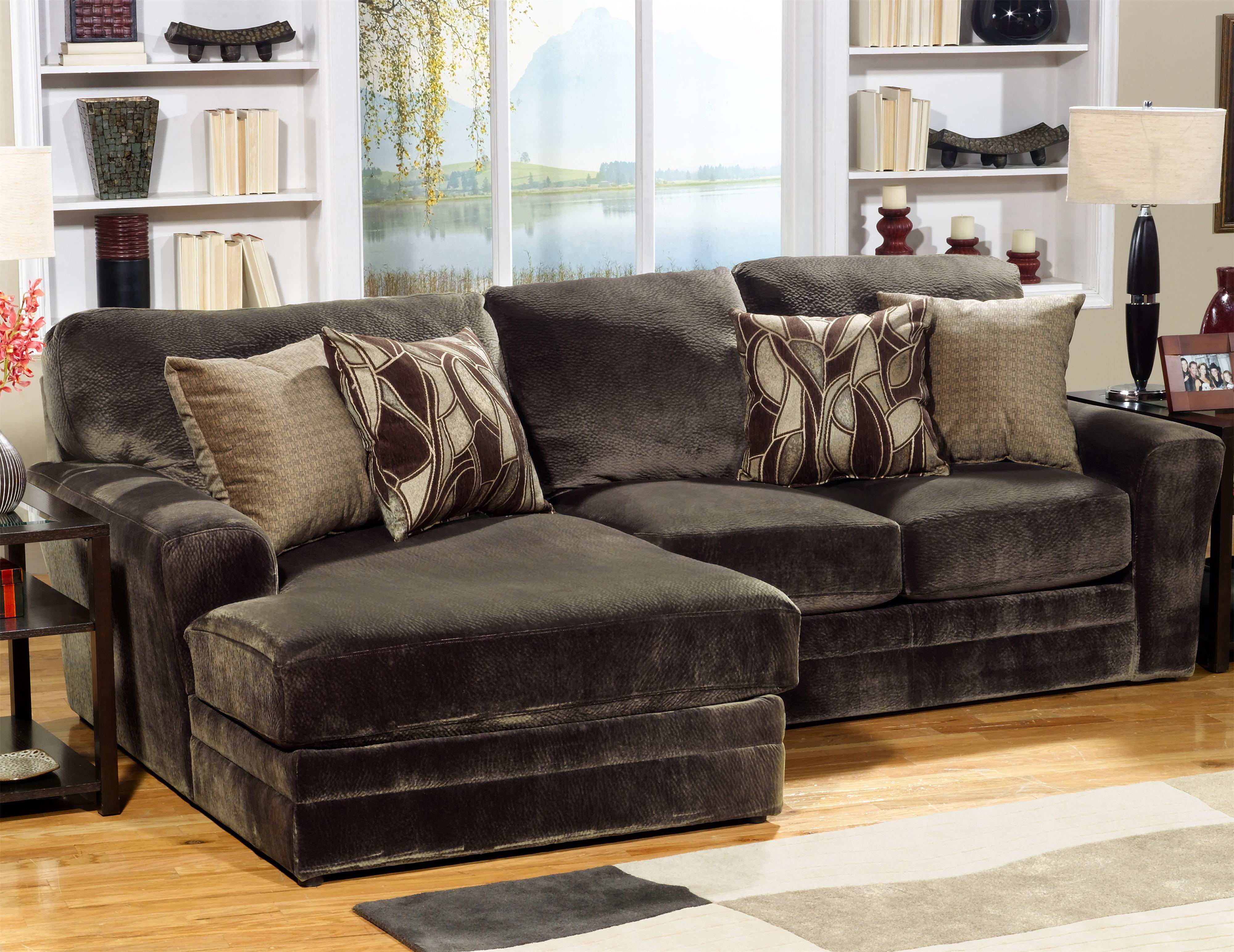 sofa w chaise dark brown rug jackson furniture 4377 everest 2 piece sectional with lsf