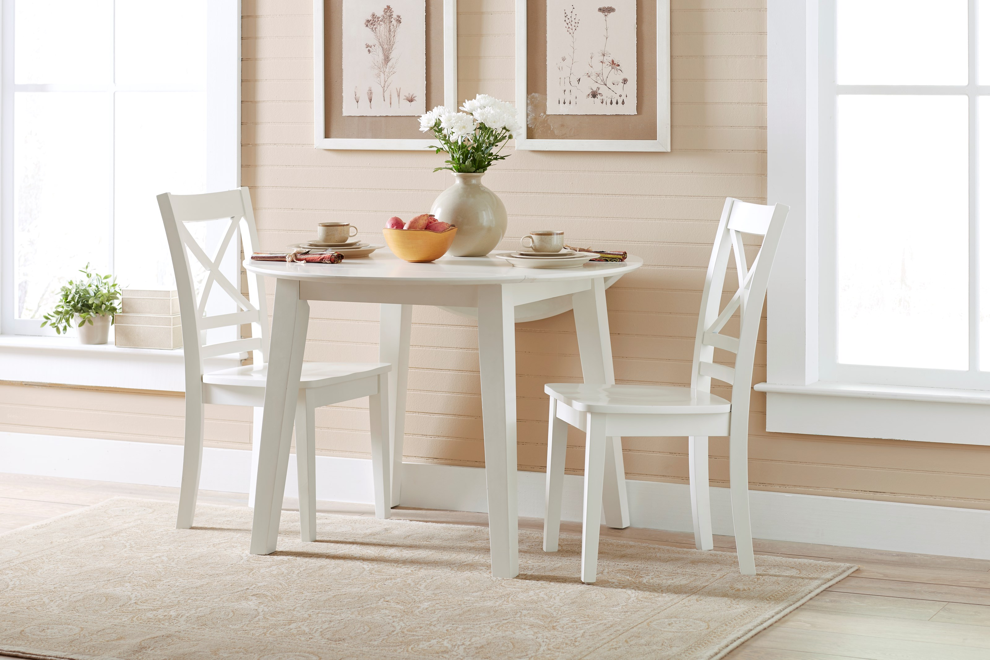 Jofran Simplicity Round Table and 2 Chair Set with X