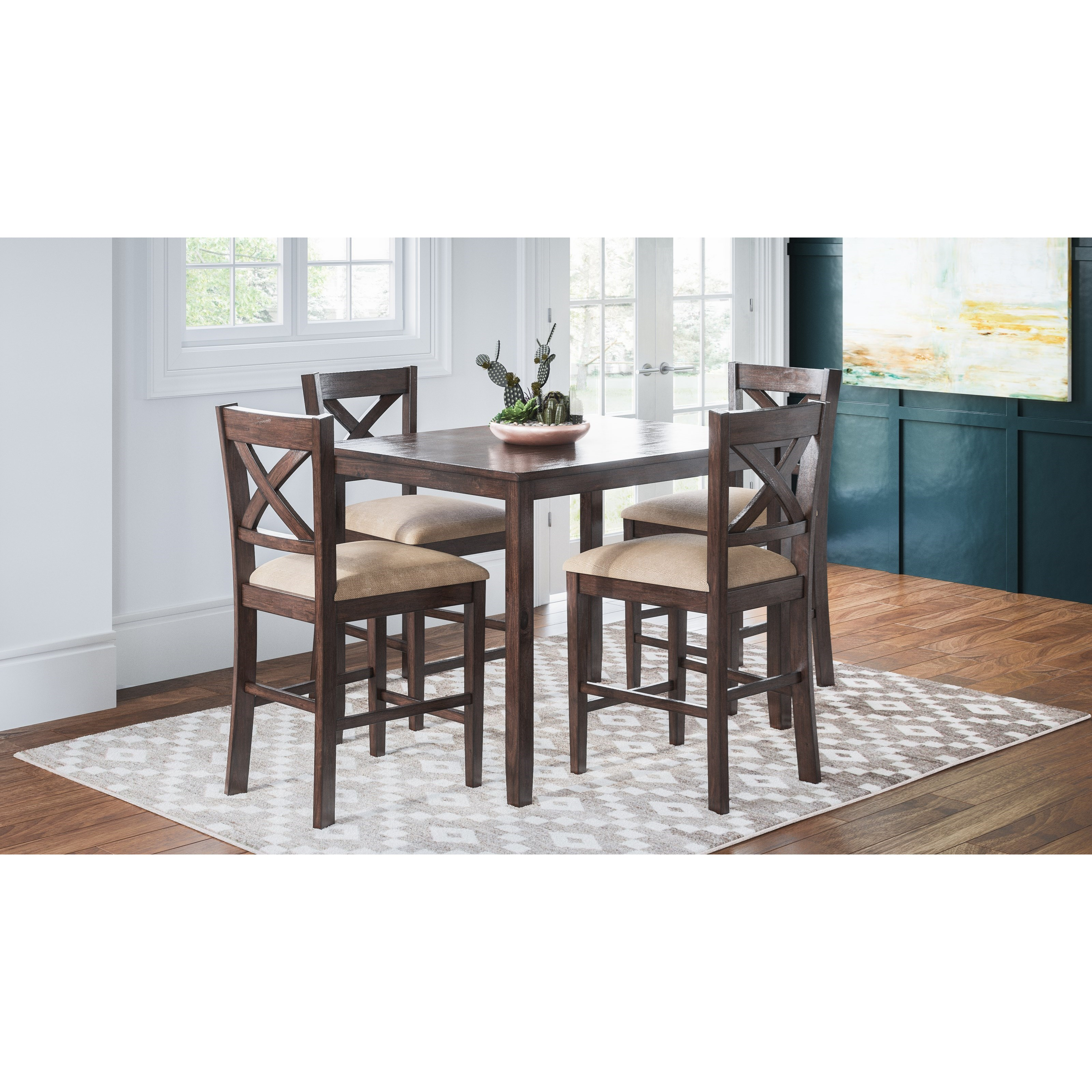 Jofran Brinkley 5 Piece Counter Height Dining Set Includes Table And 4 Chairs Morris Home Dining 5 Piece Sets