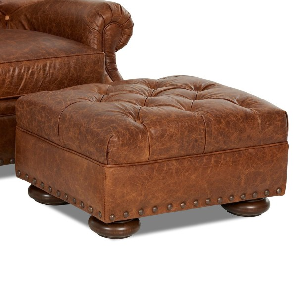 Klaussner Aspen Ld39910 Otto Tufted Leather Ottoman With Large Nailheads Dunk & Bright