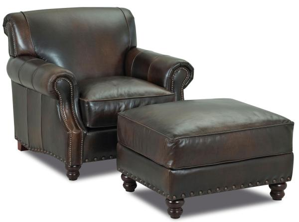 Klaussner Fremont Ld30410 Otto Traditional Leather Ottoman With Nail Head Trim Dunk & Bright