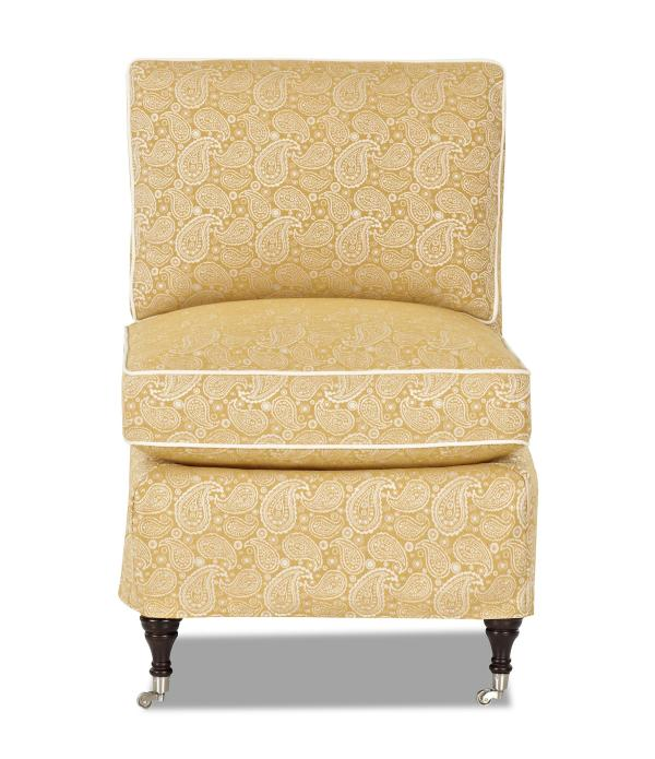 Traditional Armless Accent Chair With Slipcover