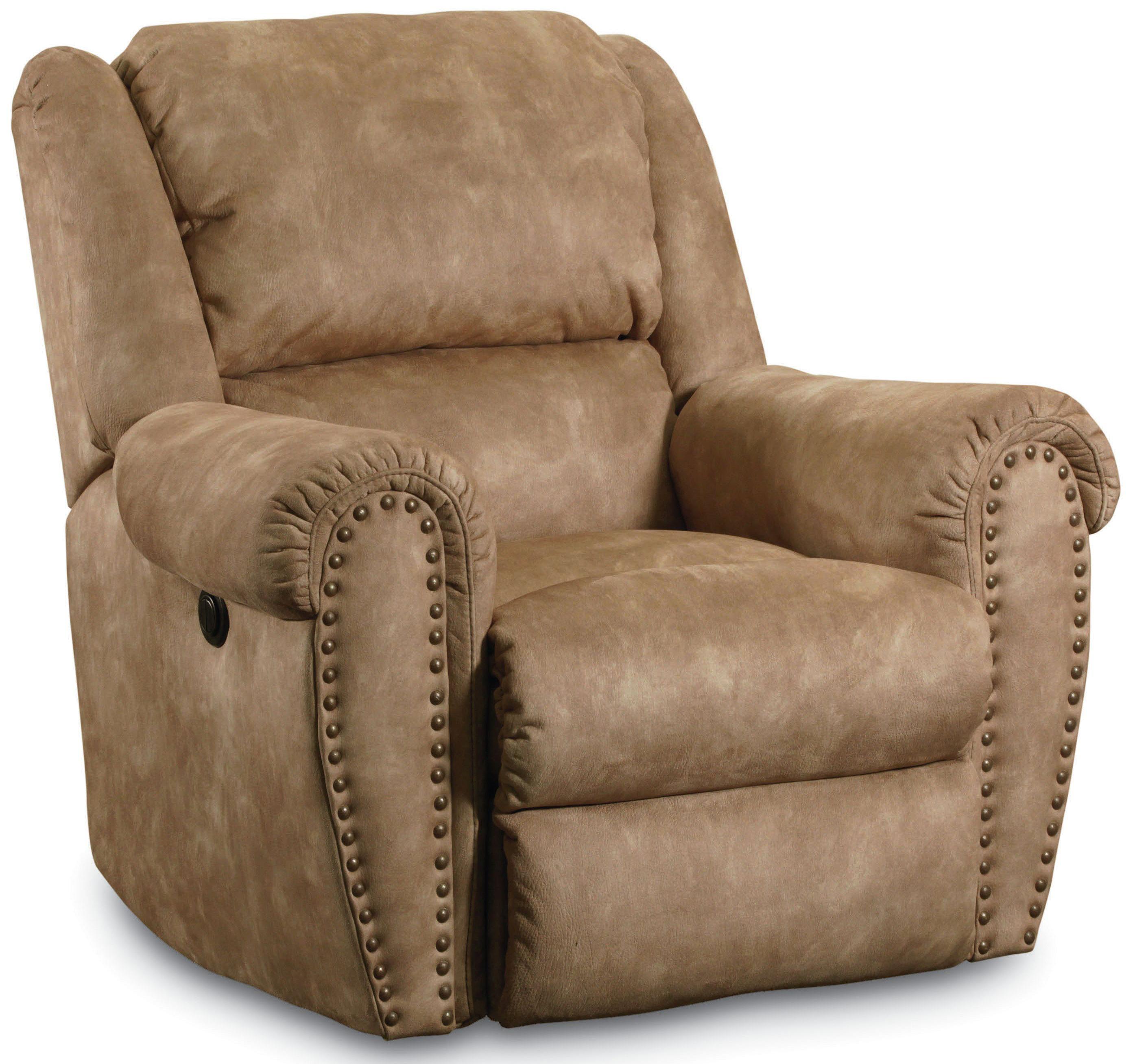 reclining sofa with nailhead trim timber bed lane summerlin traditional rocker recliner nail head