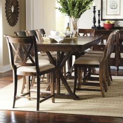 Pub Kitchen Table Dinette Set Legacy Classic Thatcher 9 Piece Dining With X Shaped Details