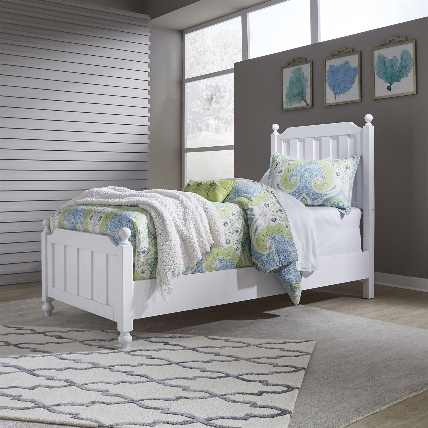 Liberty Furniture Cottage View Cottage Style Twin Panel Bed With Bun Feet Darvin Furniture