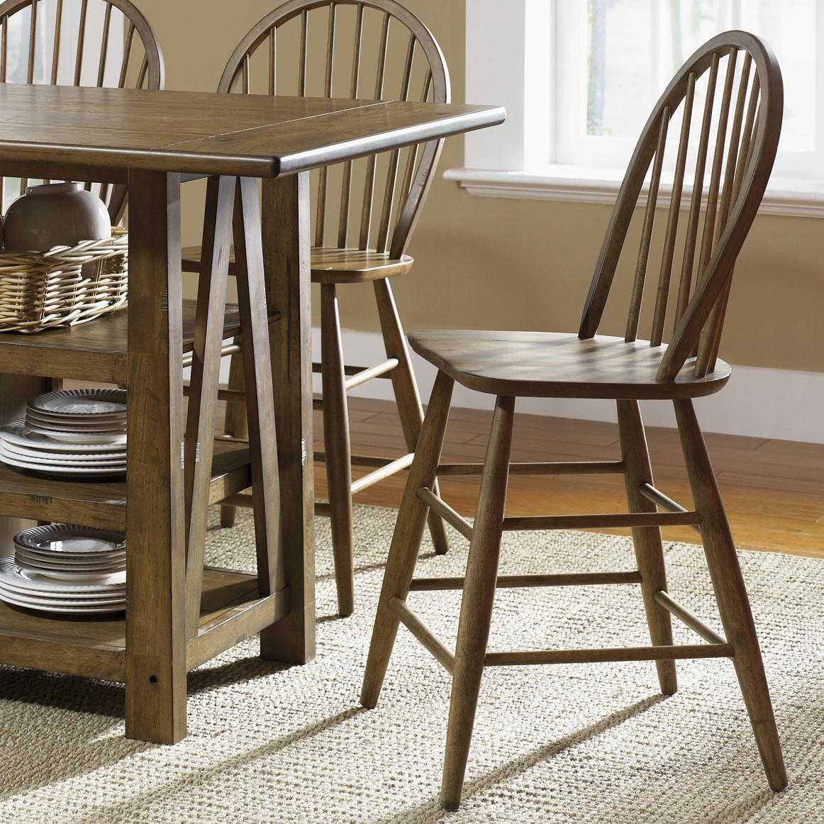 Counter Height Chairs With Arms Farmhouse Windsor Back Counter Height Chair By Liberty Furniture At Rotmans
